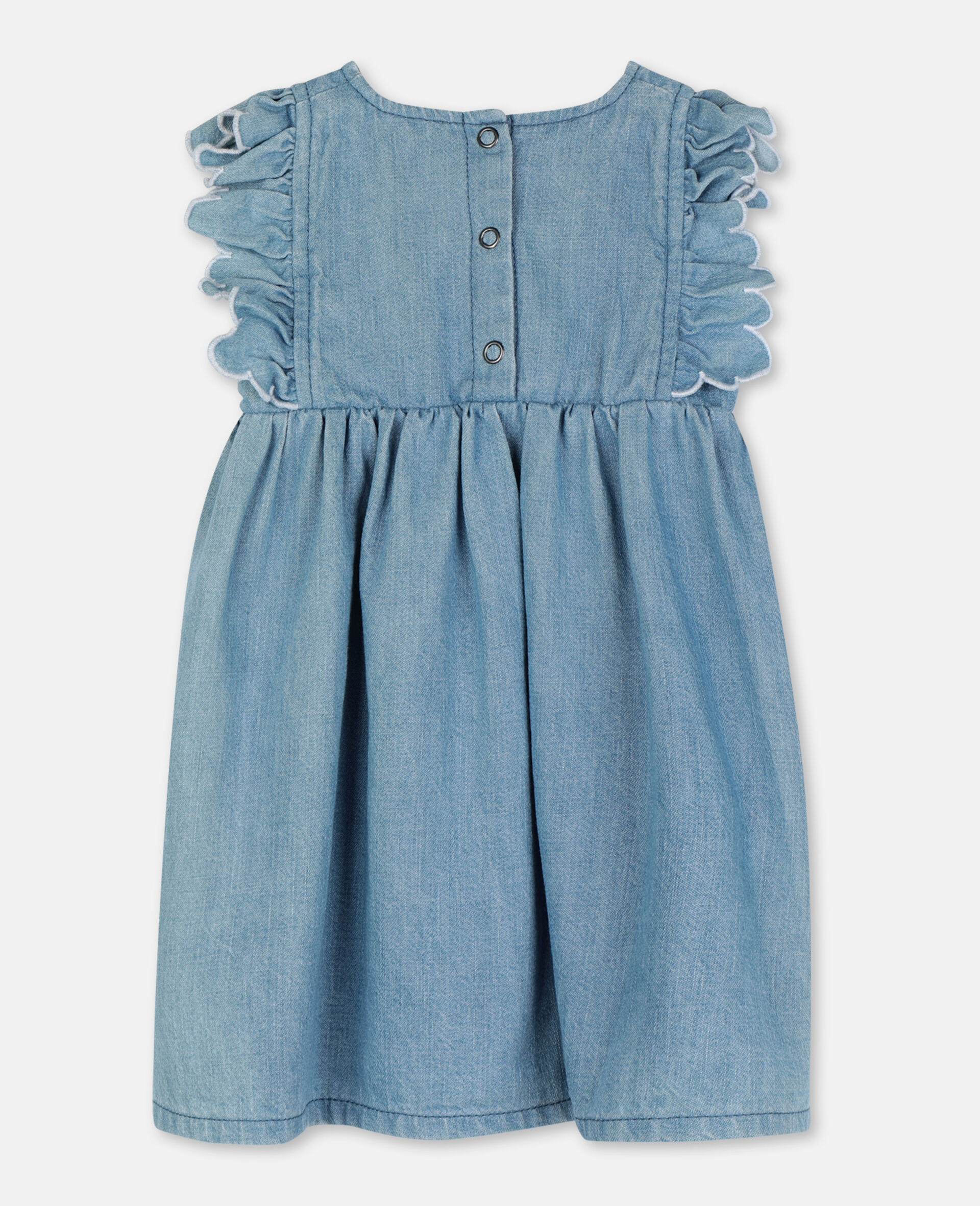 Butterfly Patch Denim Dress-Blue-large image number 3
