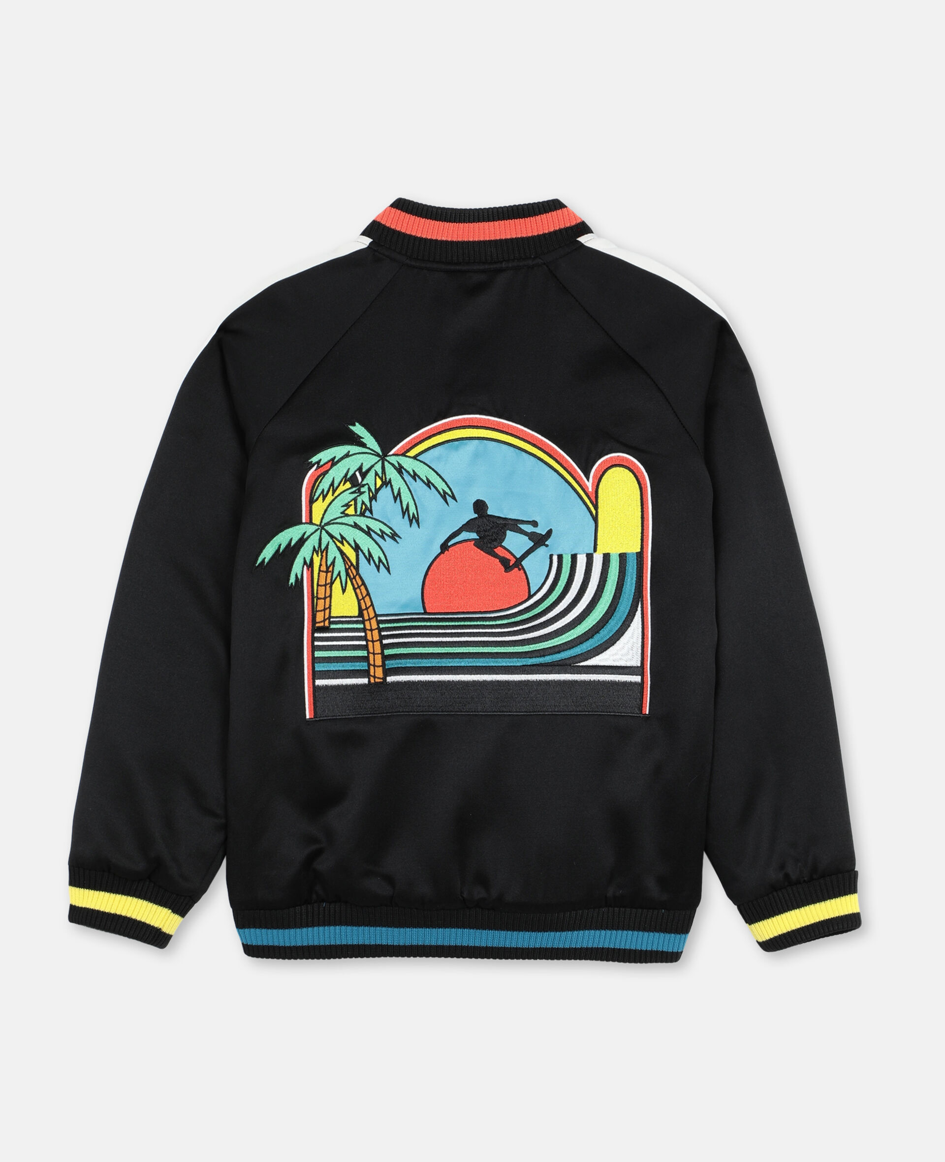 Embroided Palms Satin Bomber    -Black-large image number 3