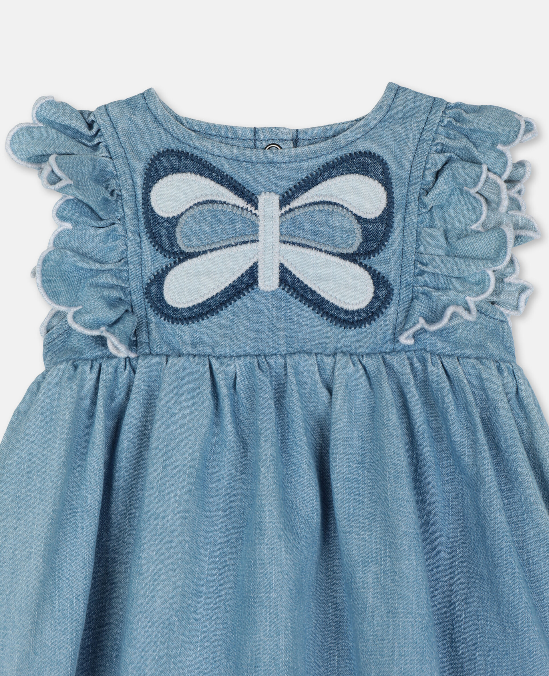 Butterfly Patch Denim Dress-Blue-large image number 1