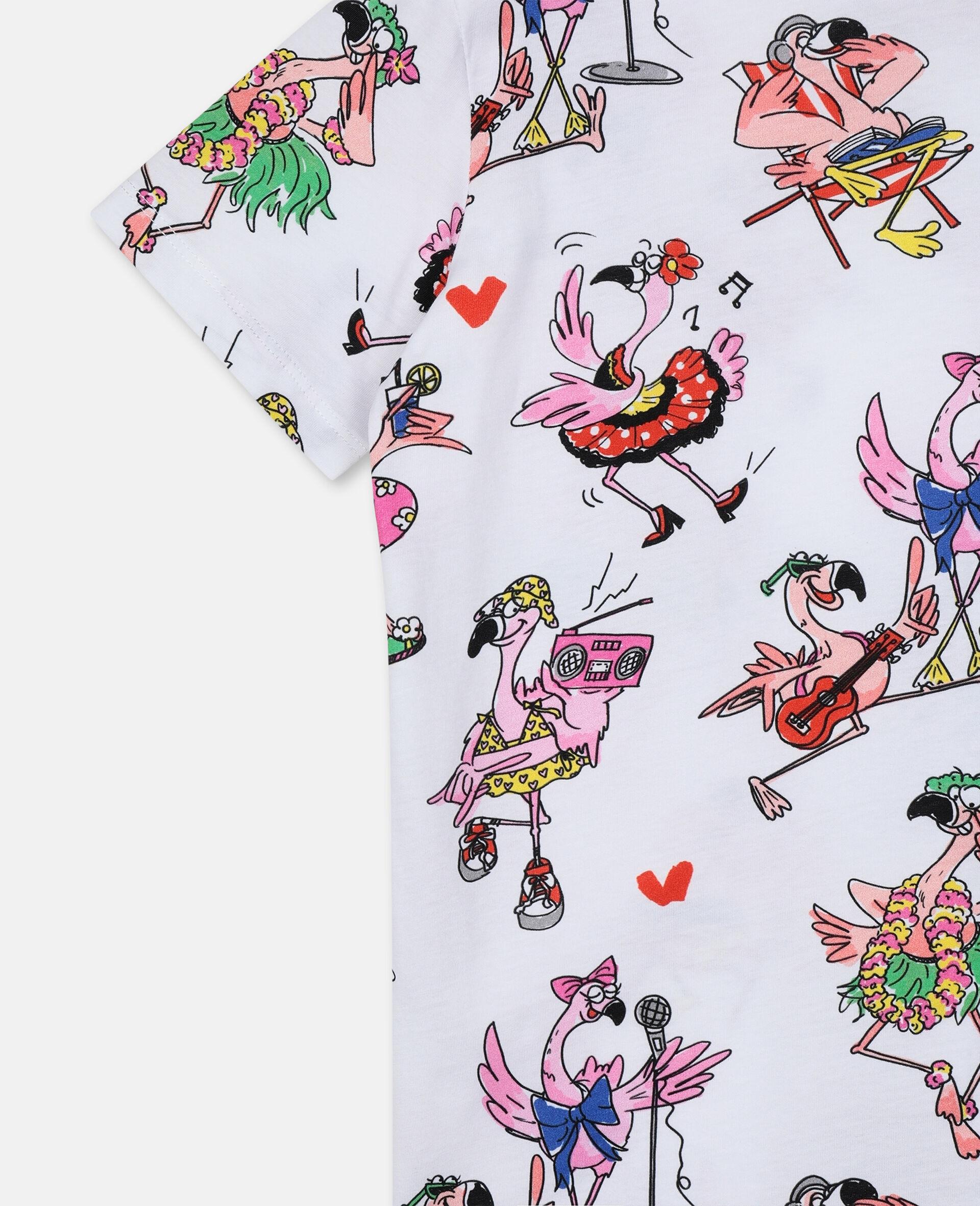 T-shirt en coton avec flamants roses festifs-Fantaisie-large image number 1