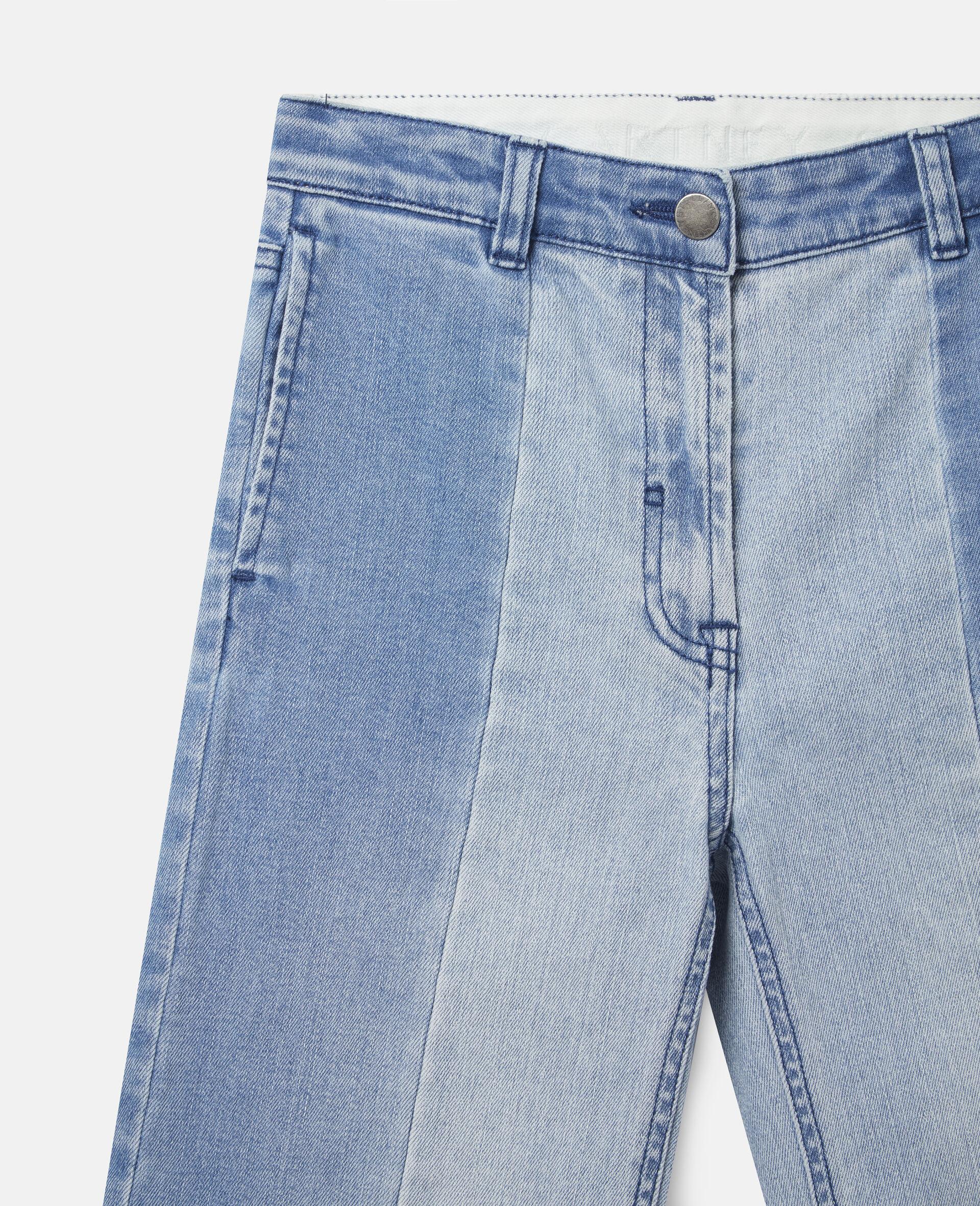 双色牛仔长裤 -蓝色-large image number 1