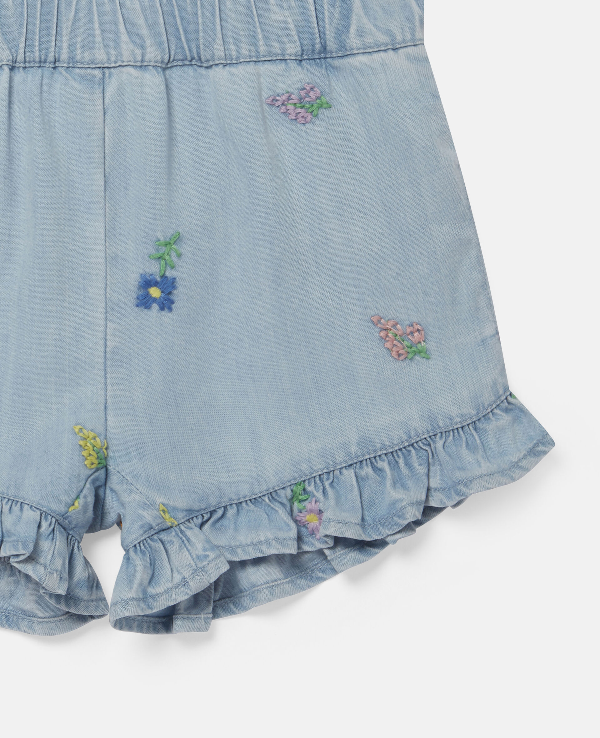 Shorts in Denim con Fiori Ricamati-Blu-large image number 2