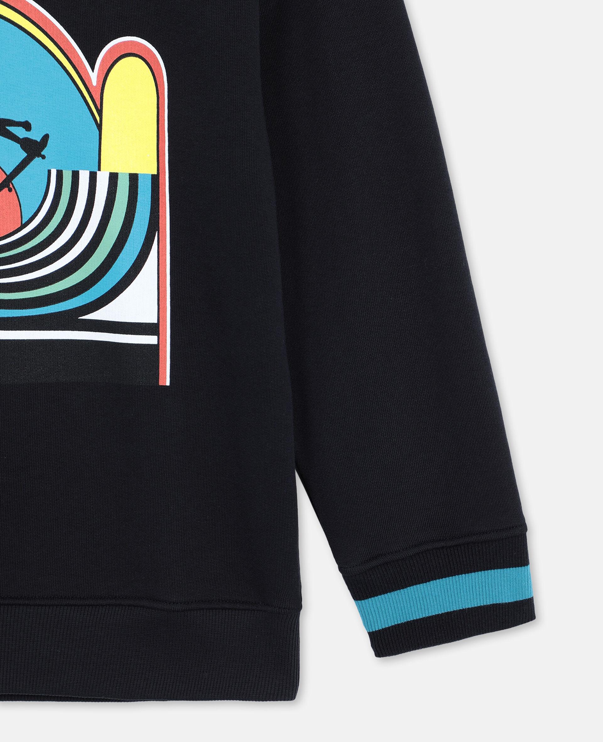 Oversize Skater Cotton Sweatshirt -Black-large image number 2