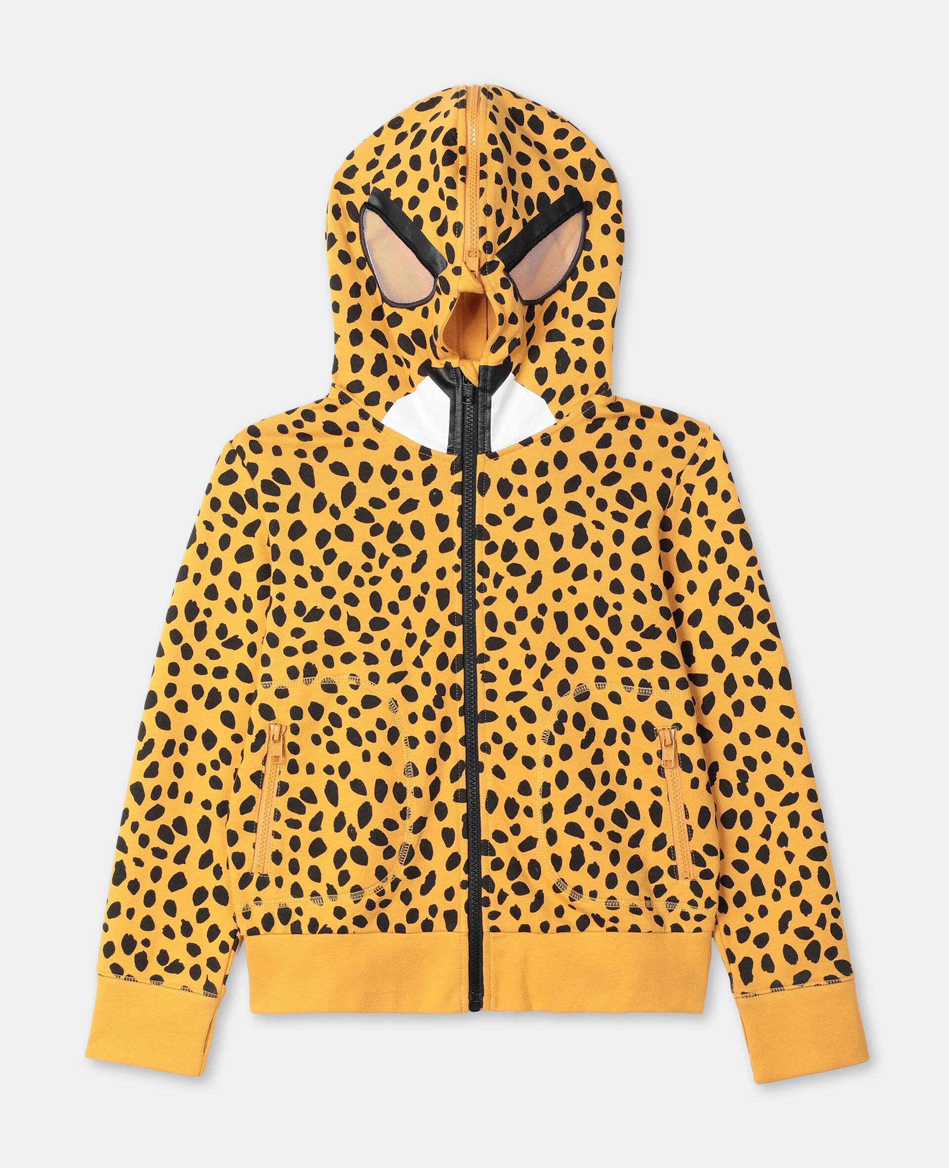 Sweat-shirt à capuche en coton à motif guépard -Fantaisie-large image number 0