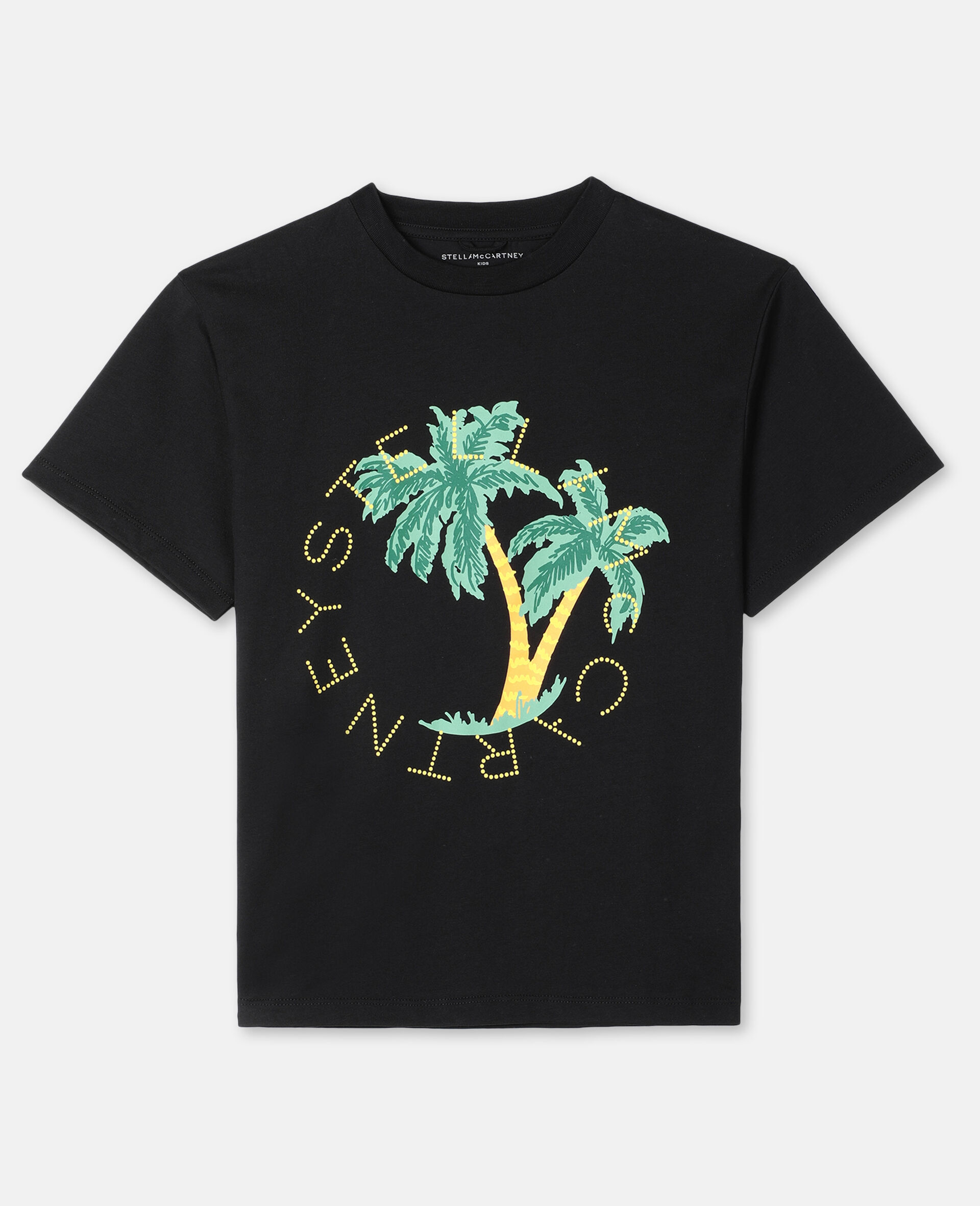 Oversize Logo Palm Cotton T-shirt -Black-large image number 0