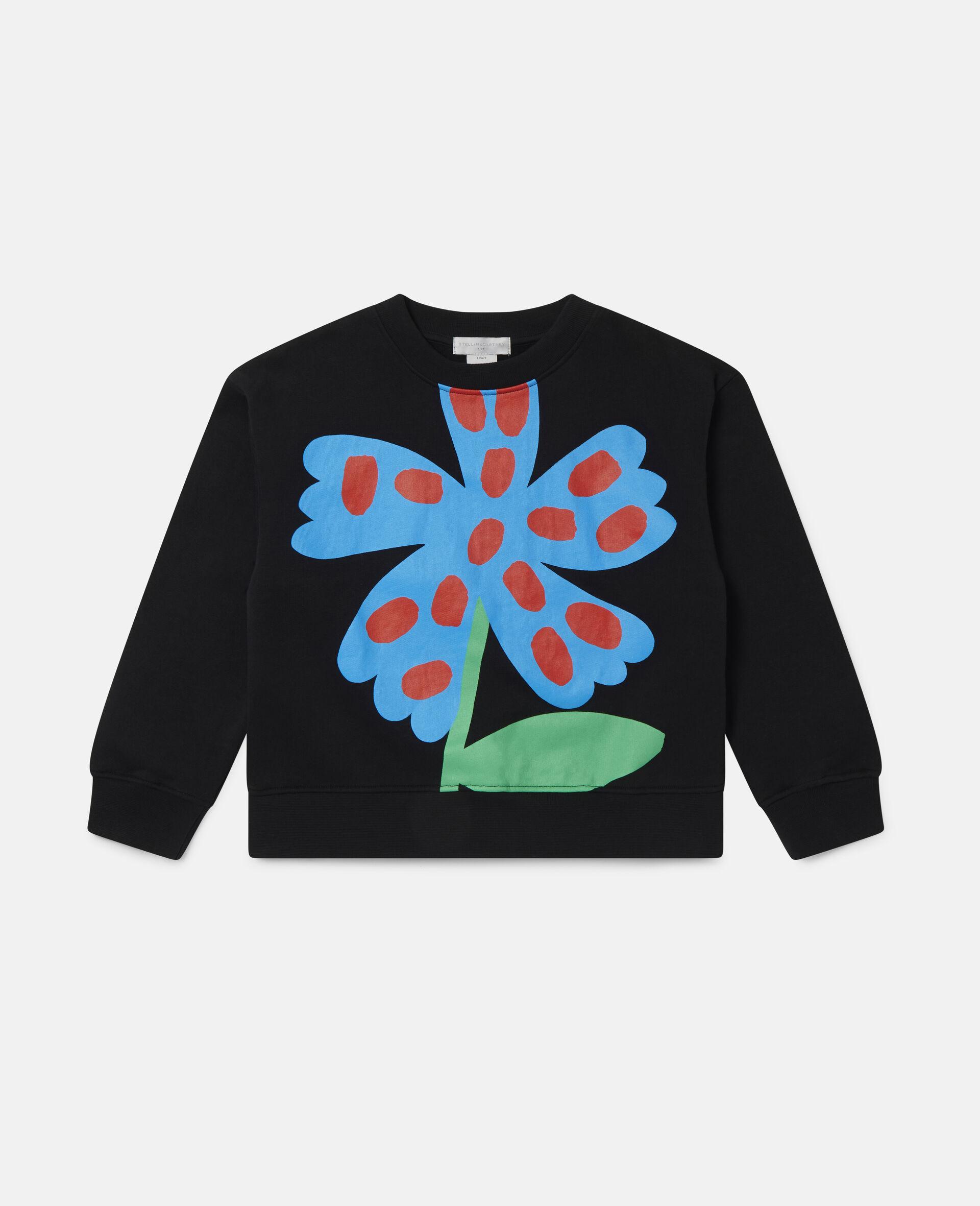 Übergroßes Sweatshirt aus Baumwollfleece mit gepunkteter Blume-Schwarz-large image number 0