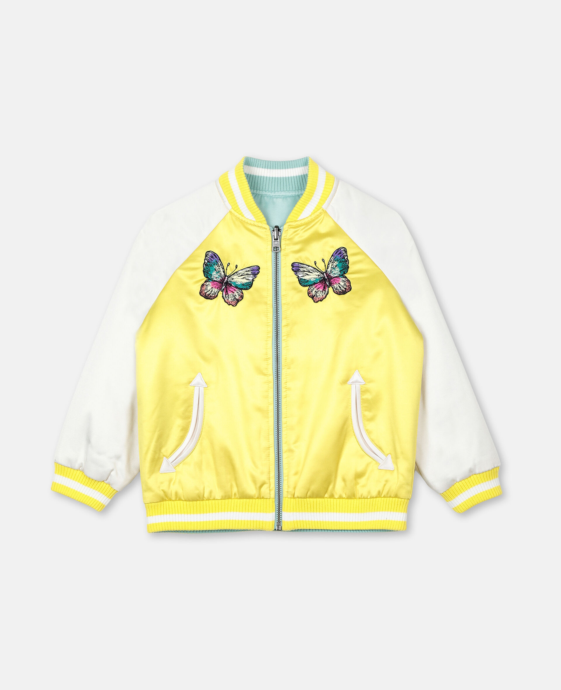 Embroidered Butterfly Satin Bomber -Green-large image number 1