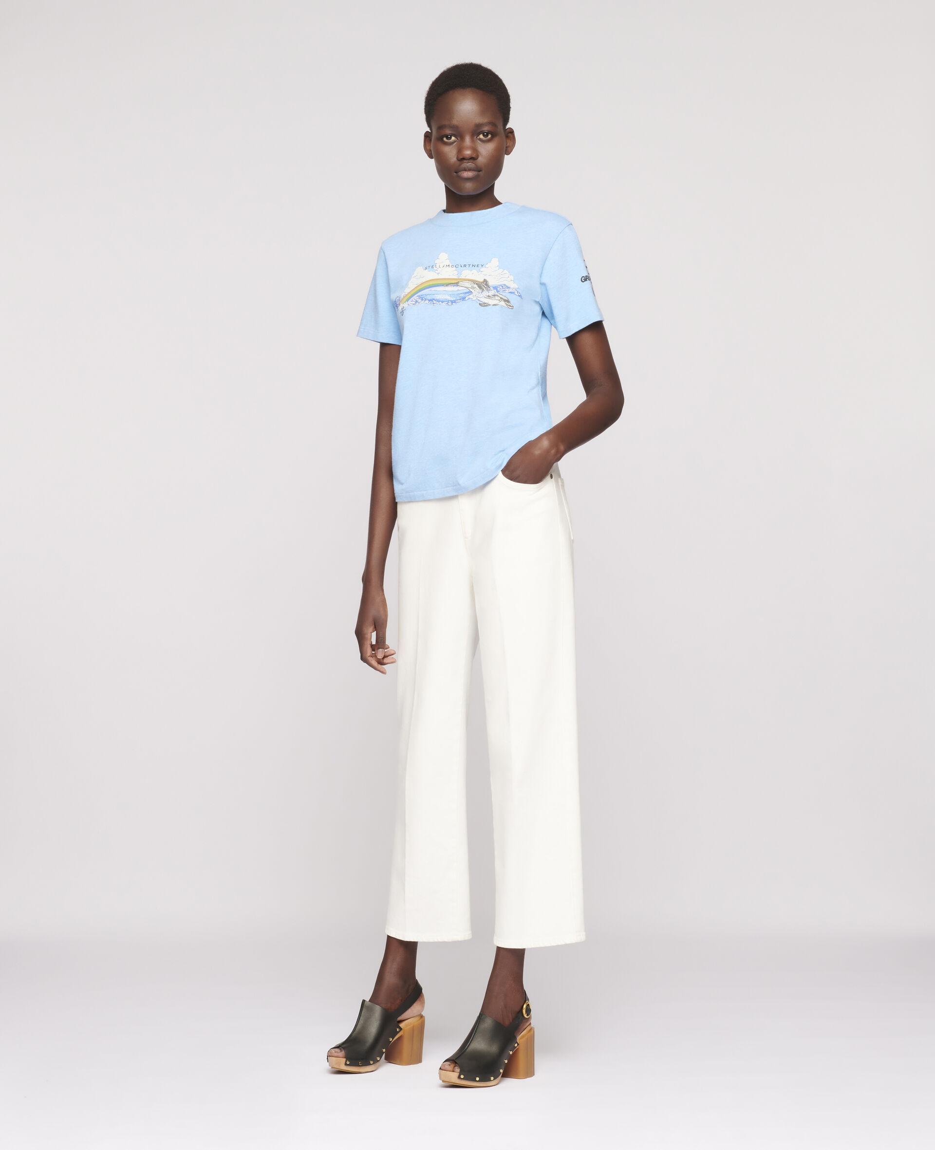 """Baumoll-T-Shirt mit """"Regenbogen-Delfin""""-Print-Blau-large image number 1"""