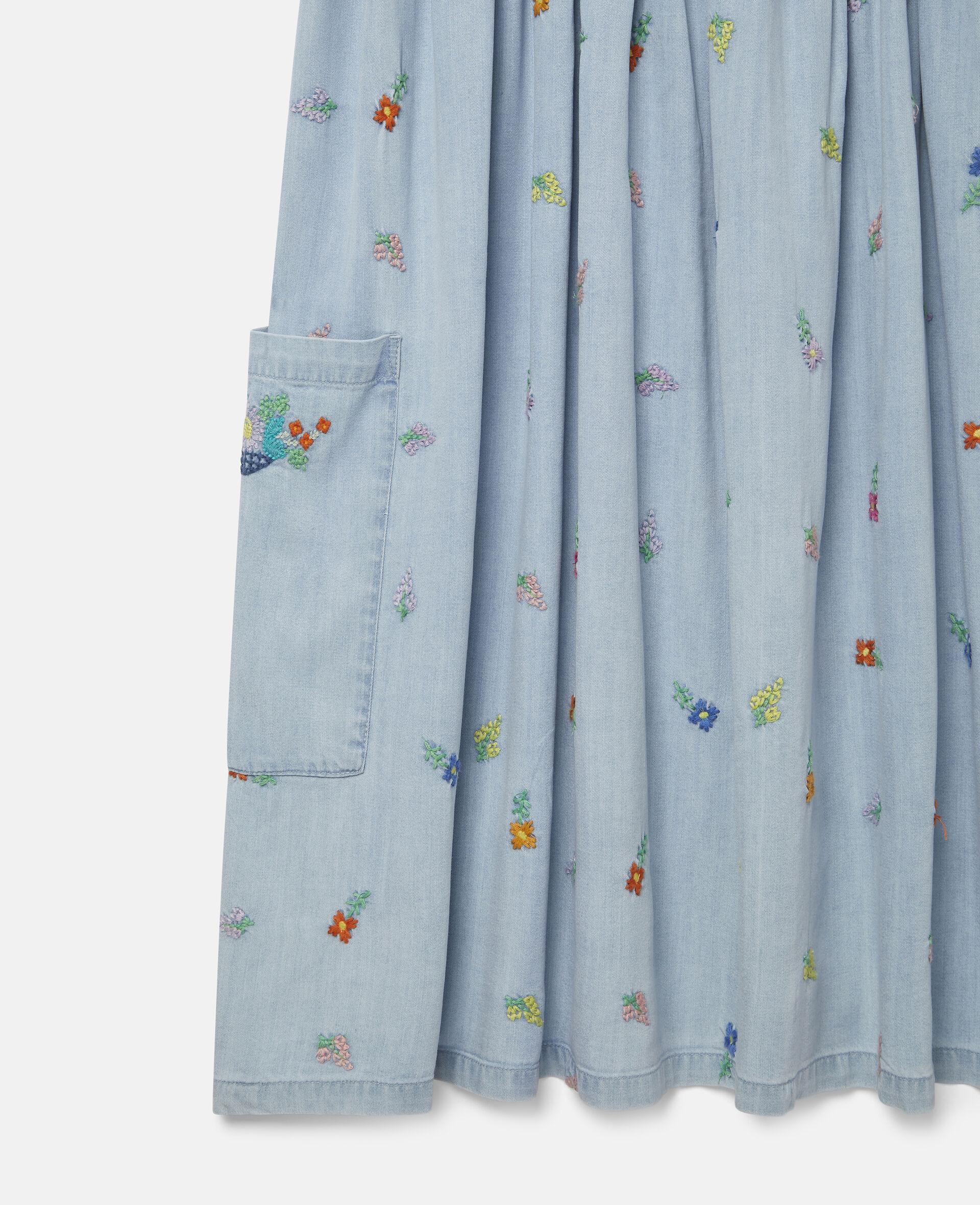 Denim-Kleid mit Blumenstickerei-Blau-large image number 1