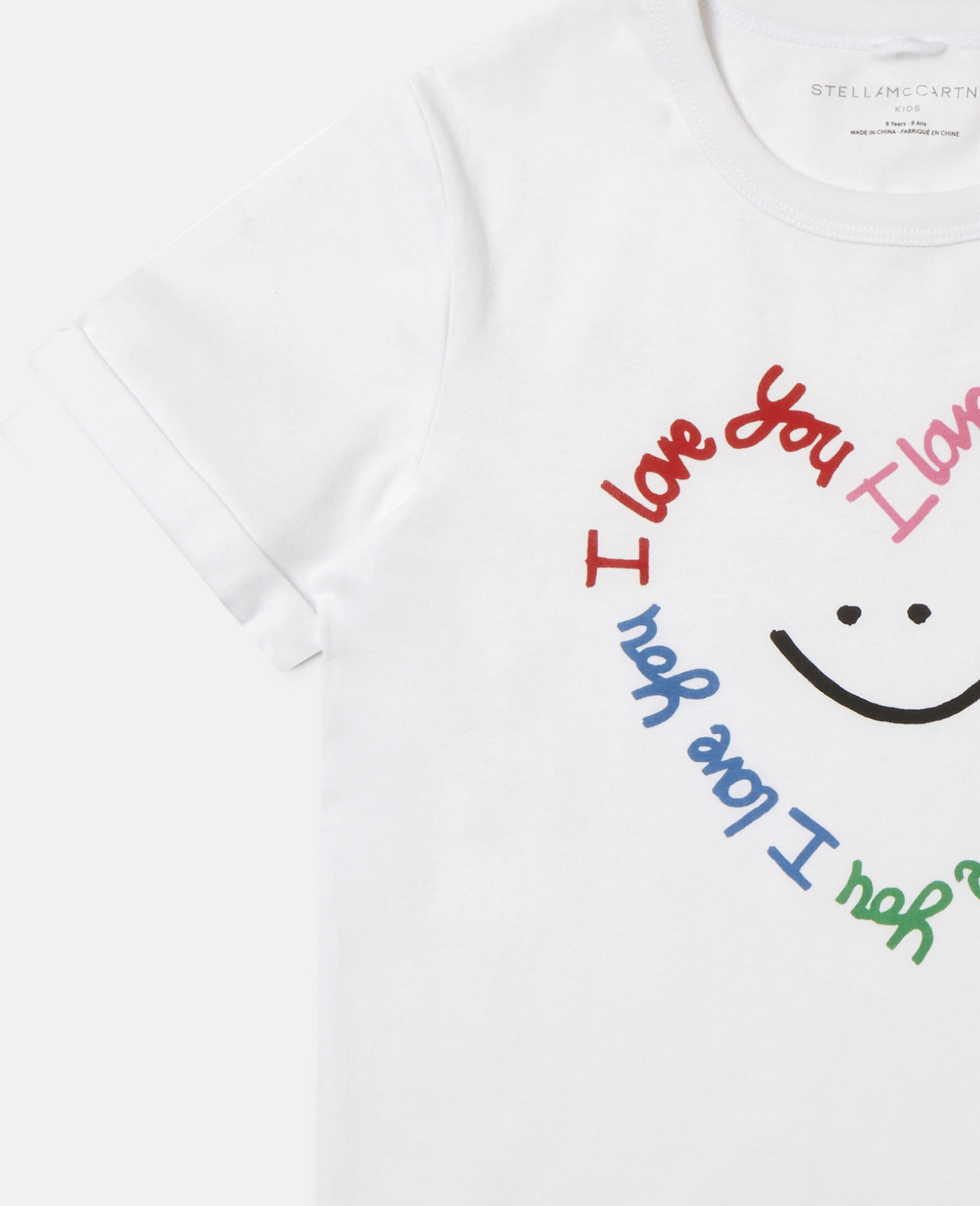 Smile Heart Cotton T-shirt -White-large image number 2