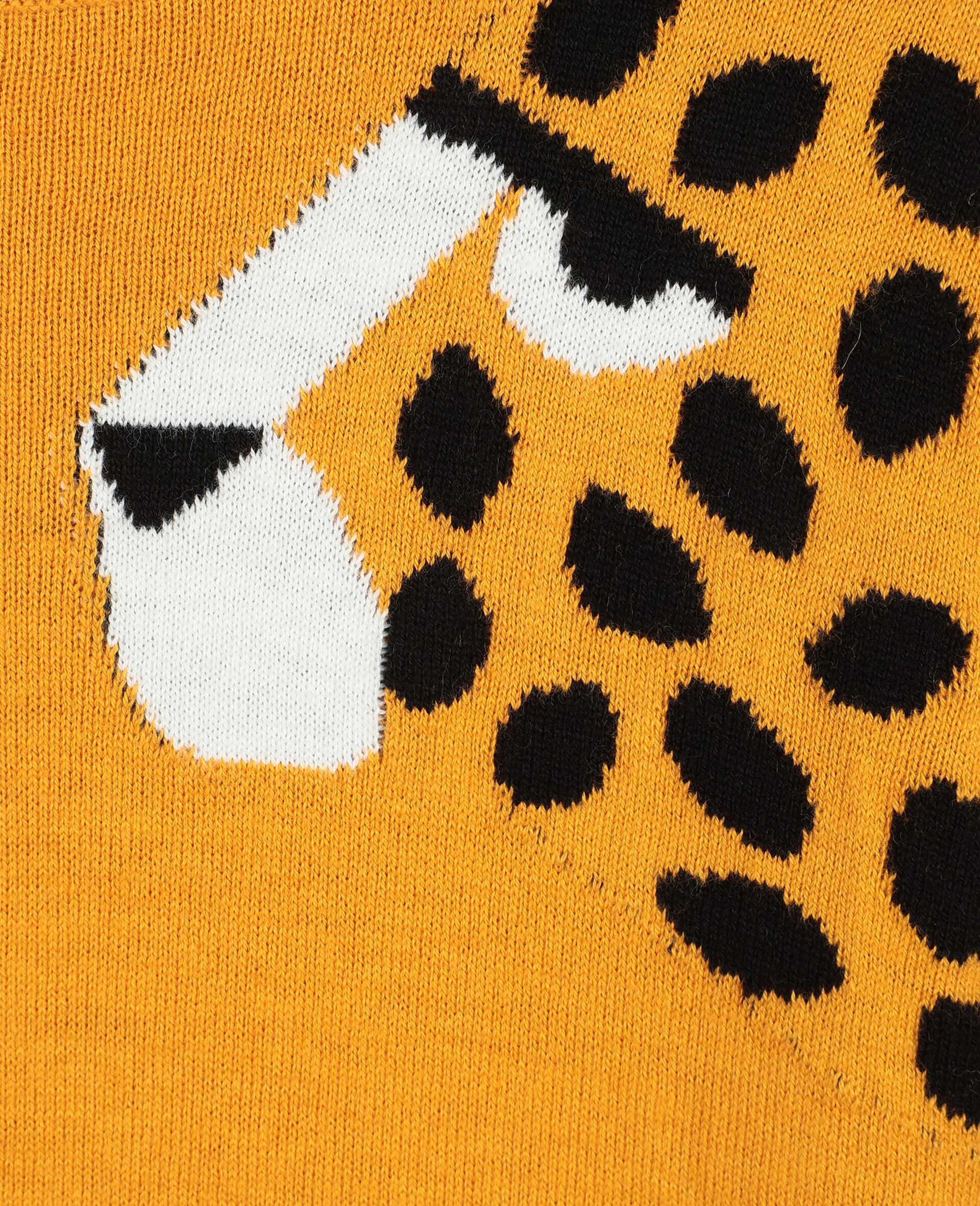 Pull en maille intarsia à motif guépard -Orange-large image number 1