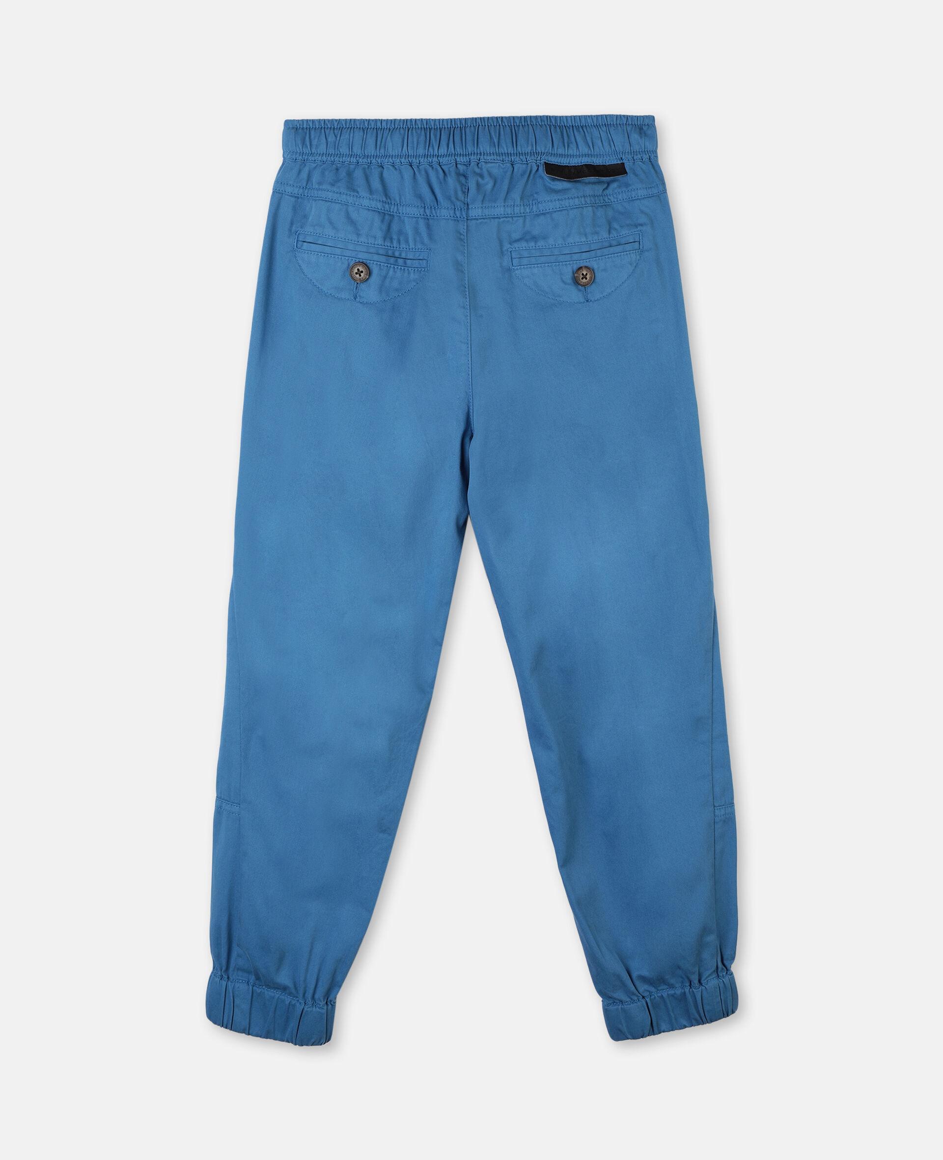 Pantalon cargo en sergé de coton -Bleu-large image number 3