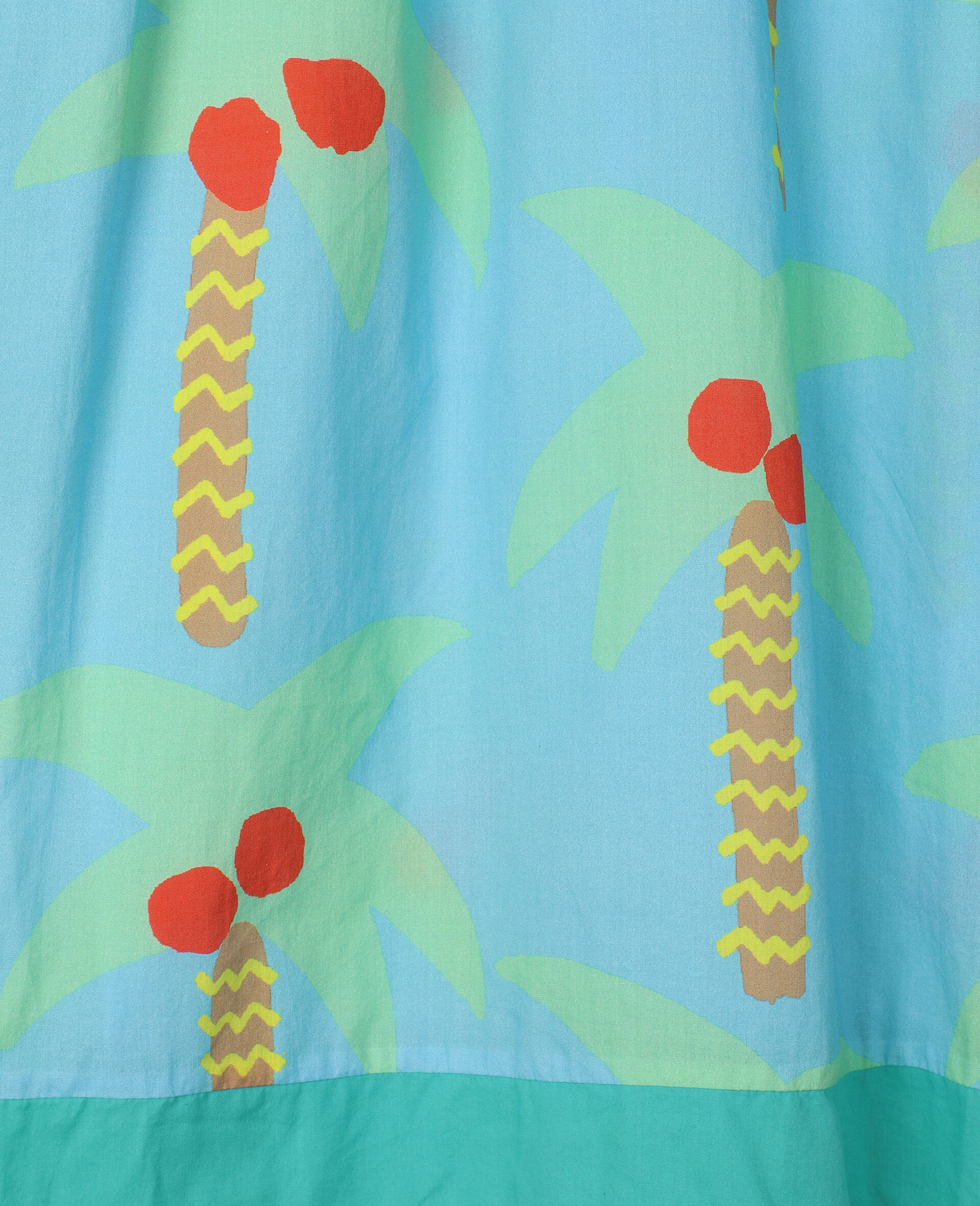 Palm Trees Oversize Cotton Dress-Green-large image number 1