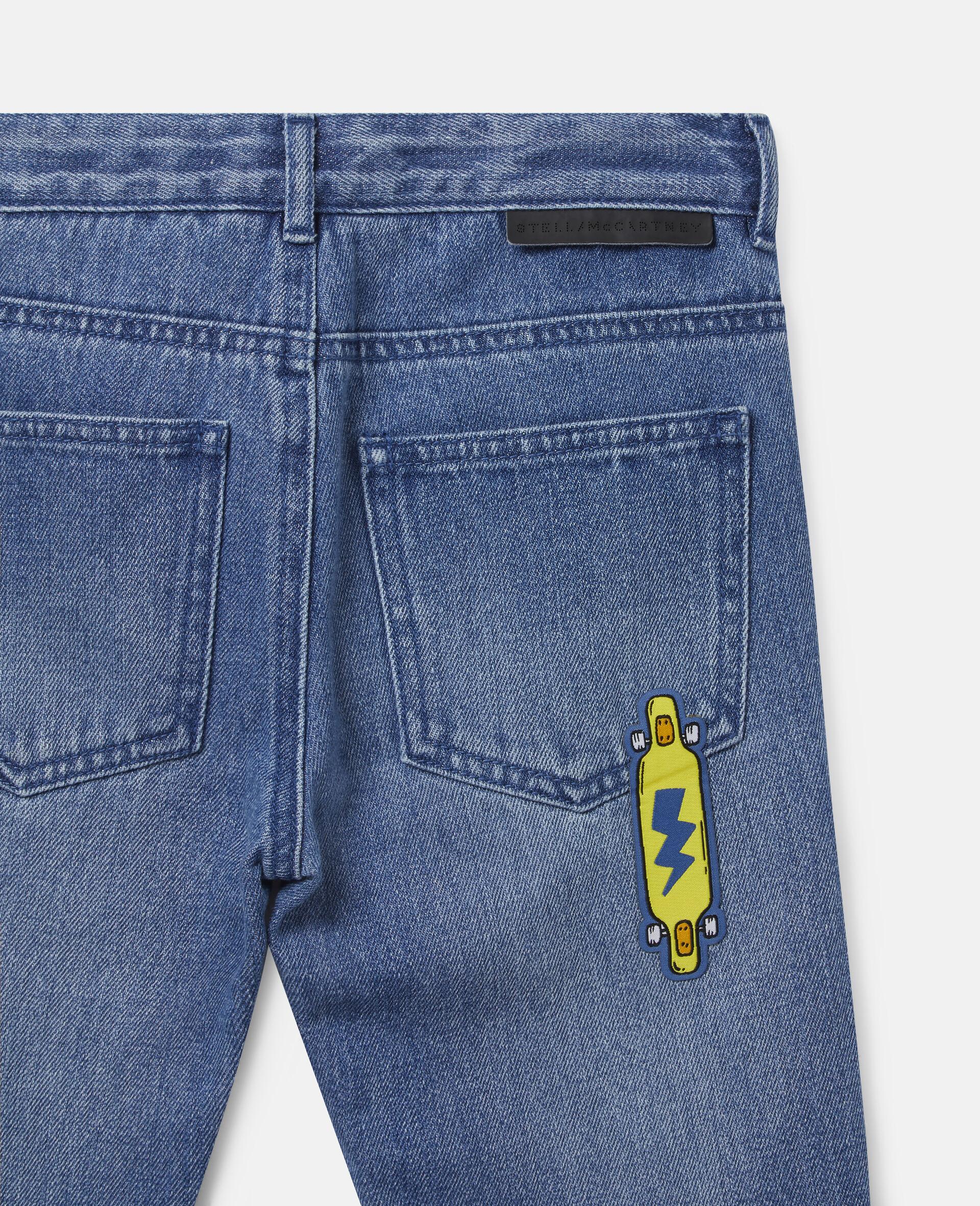 Pantalon en denim à écussons skateboard-Bleu-large image number 2