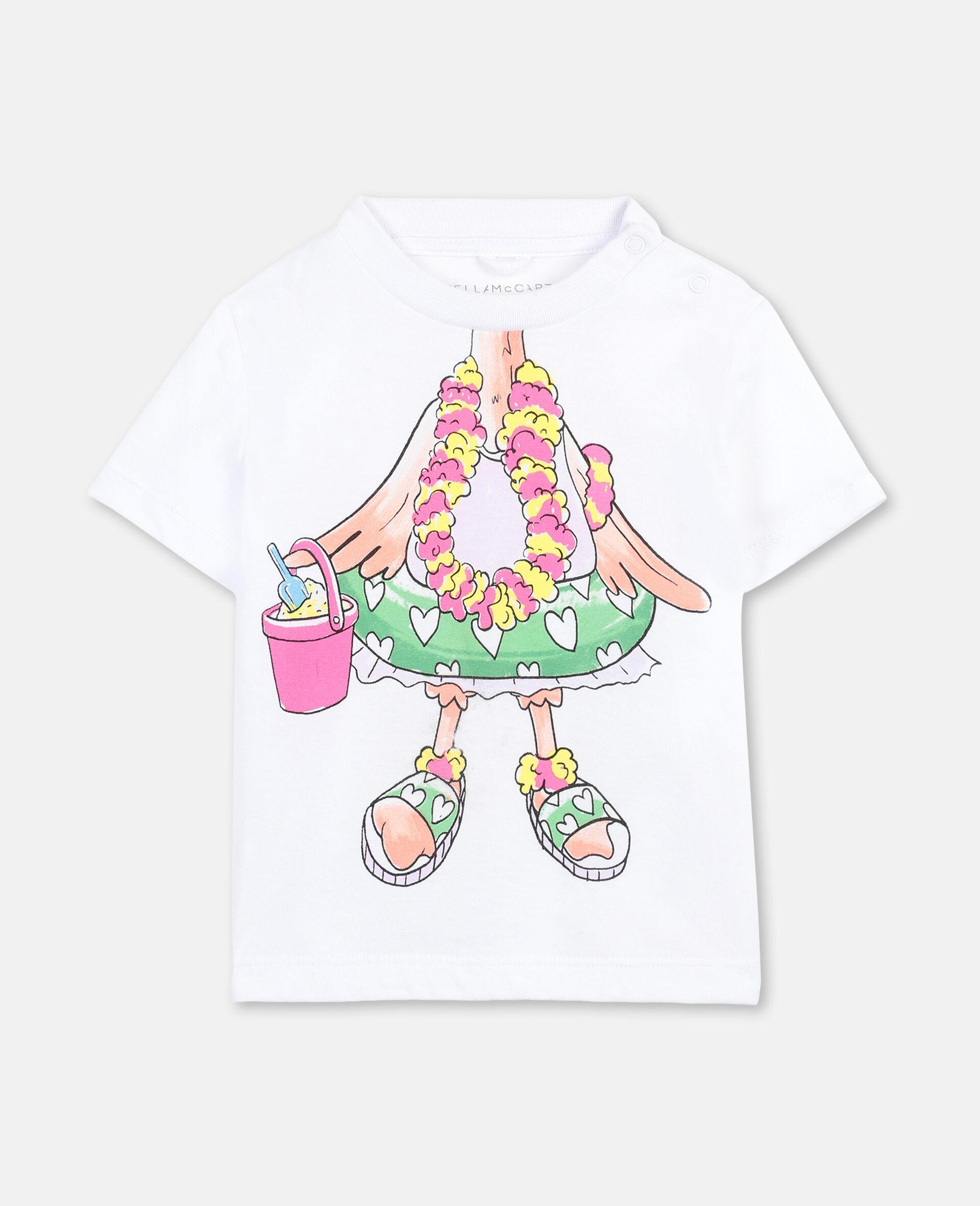 Trompe-L'Oeil Flamingo Cotton T-shirt -White-large image number 0