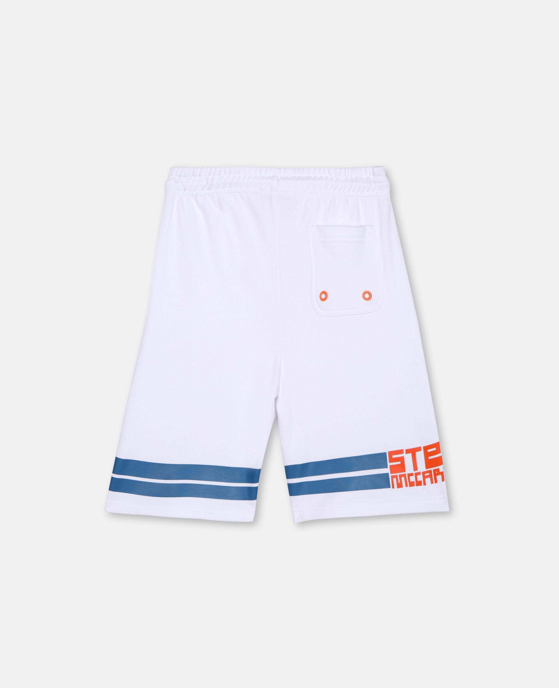 Sportliche Baumwoll-Shorts mit Logo -Weiß-large image number 3