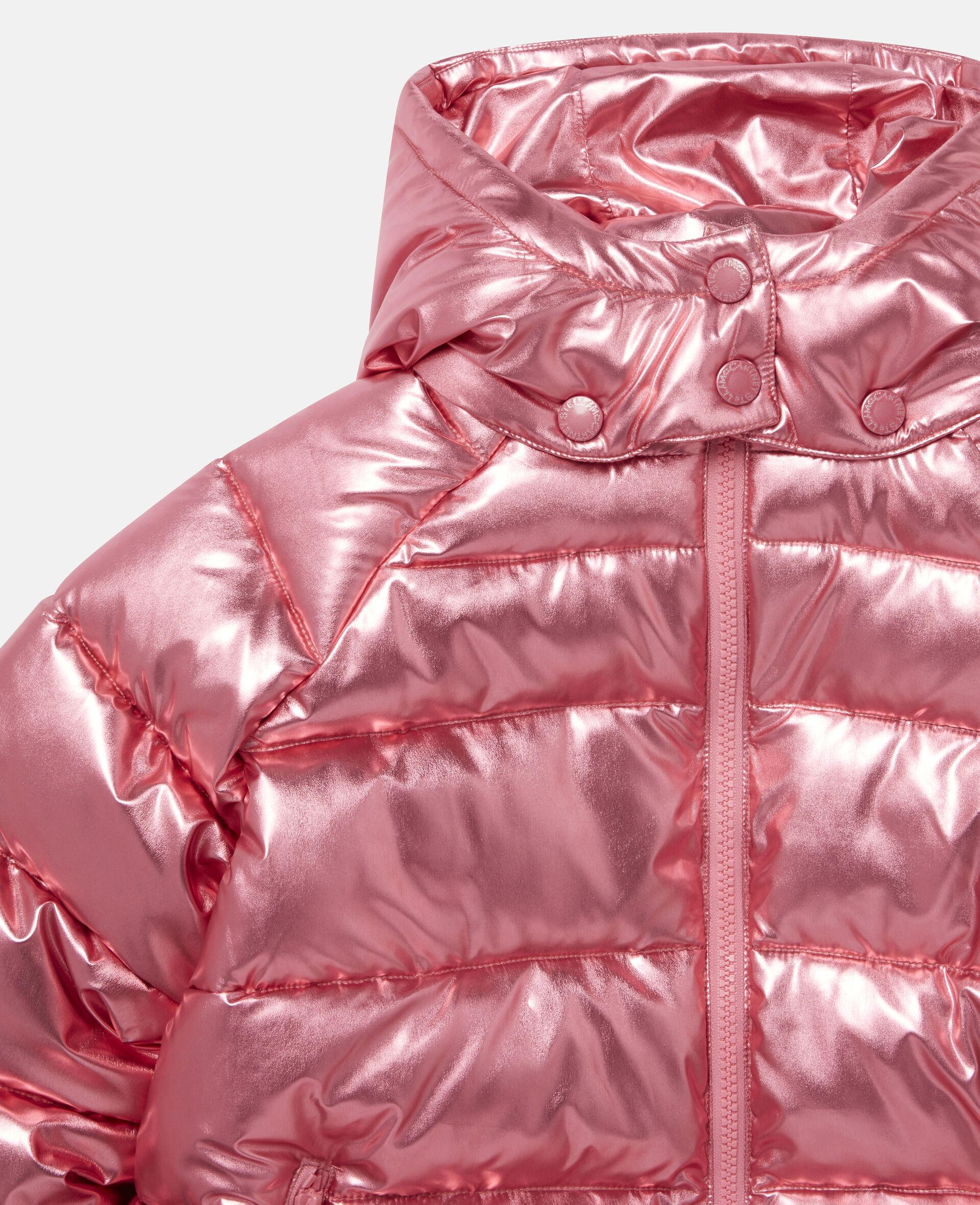 Doudoune à capuche lamée -Rouge-large image number 1
