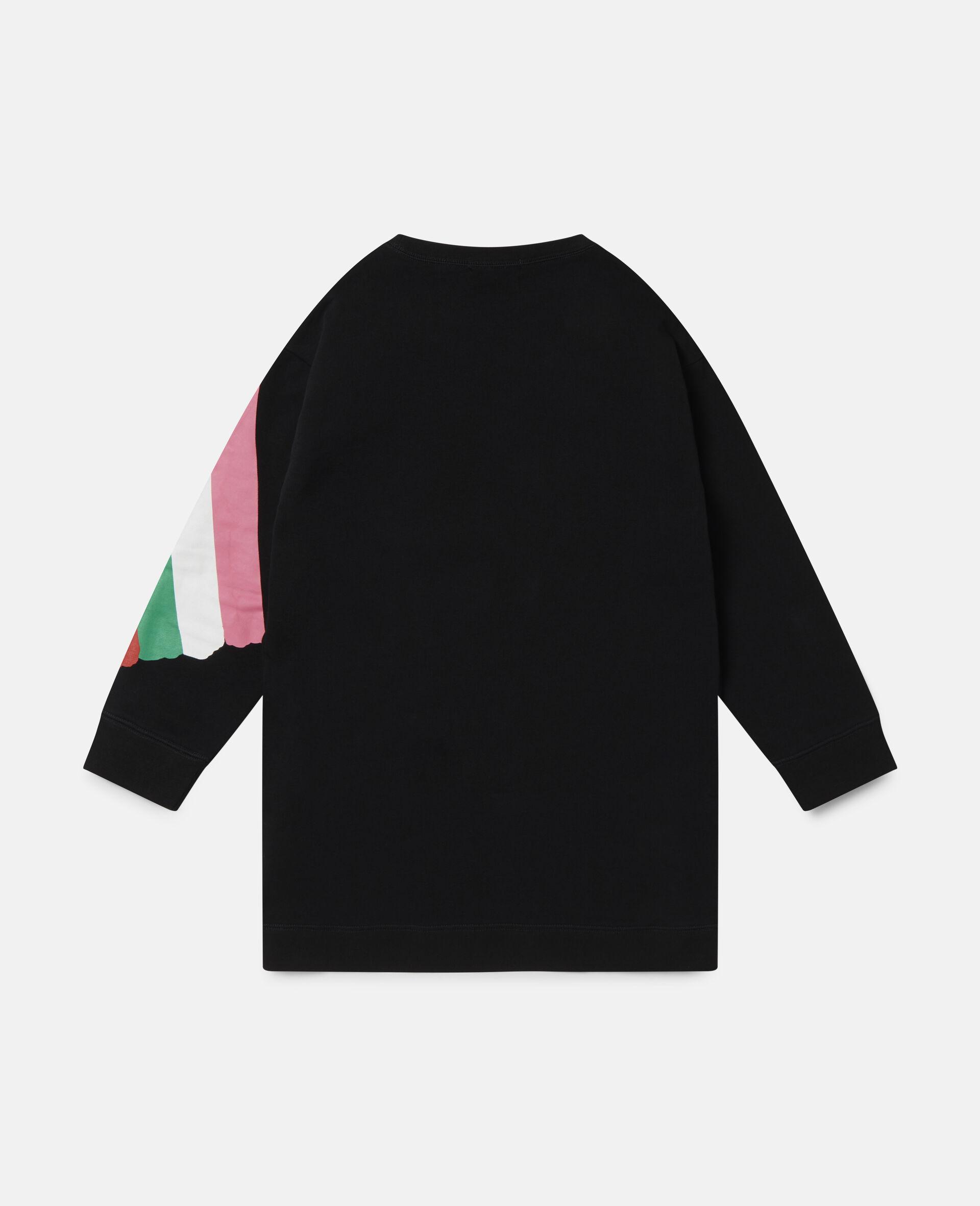 Paintbrushes Cotton Fleece Dress-Black-large image number 3