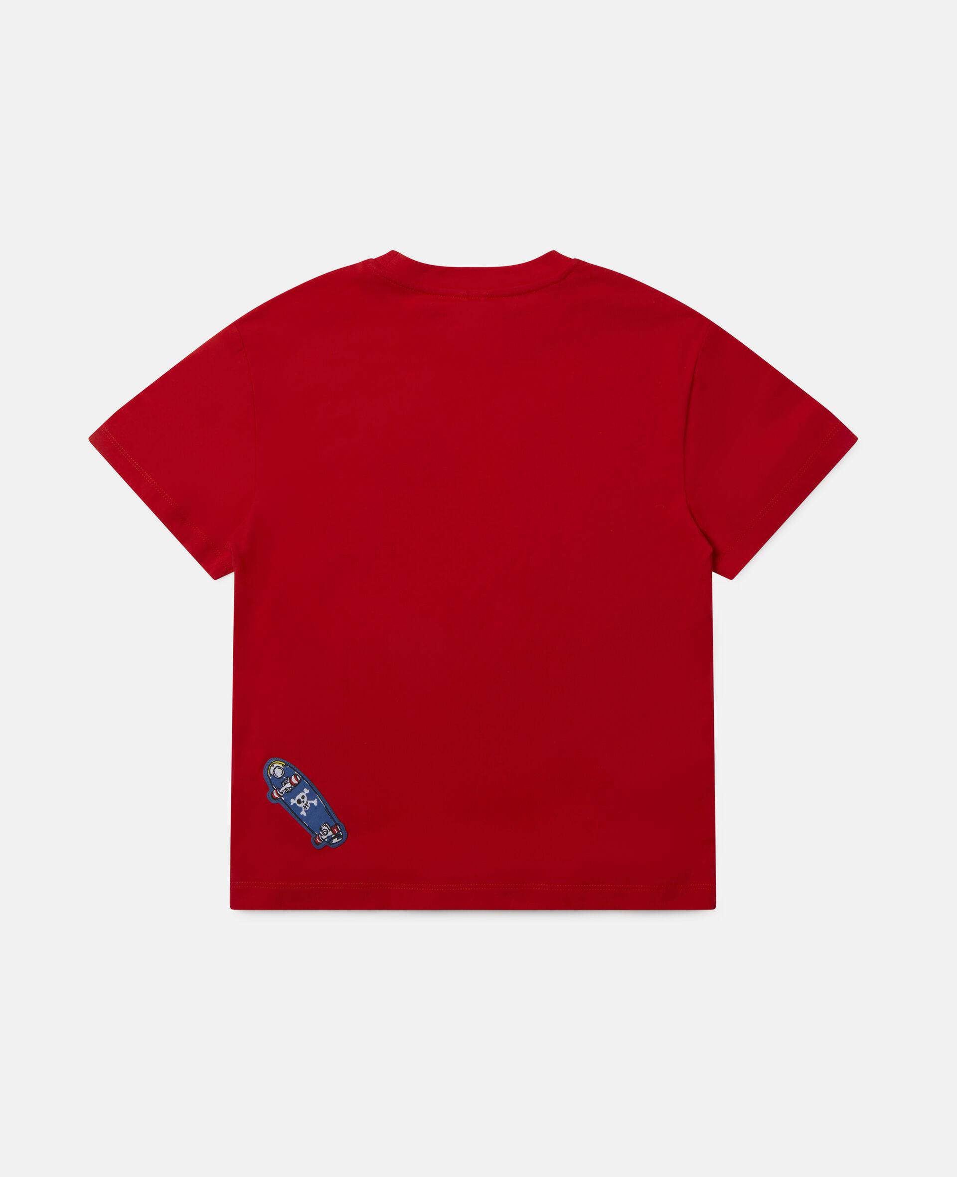 Übergroßes Baumwoll-T-Shirt mit Pizza-Aufnäher -Rot-large image number 3