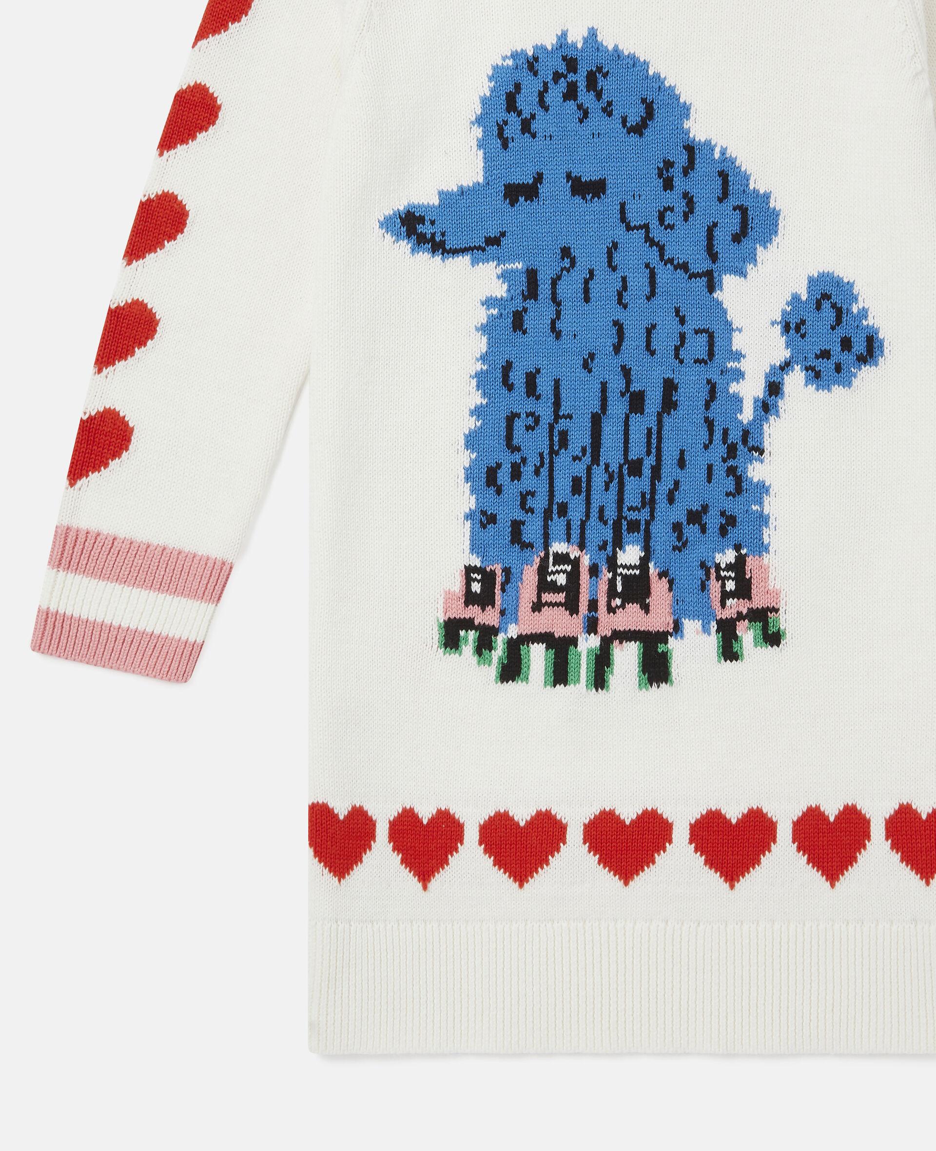 Poodle Knit Intarsia Dress-White-large image number 2