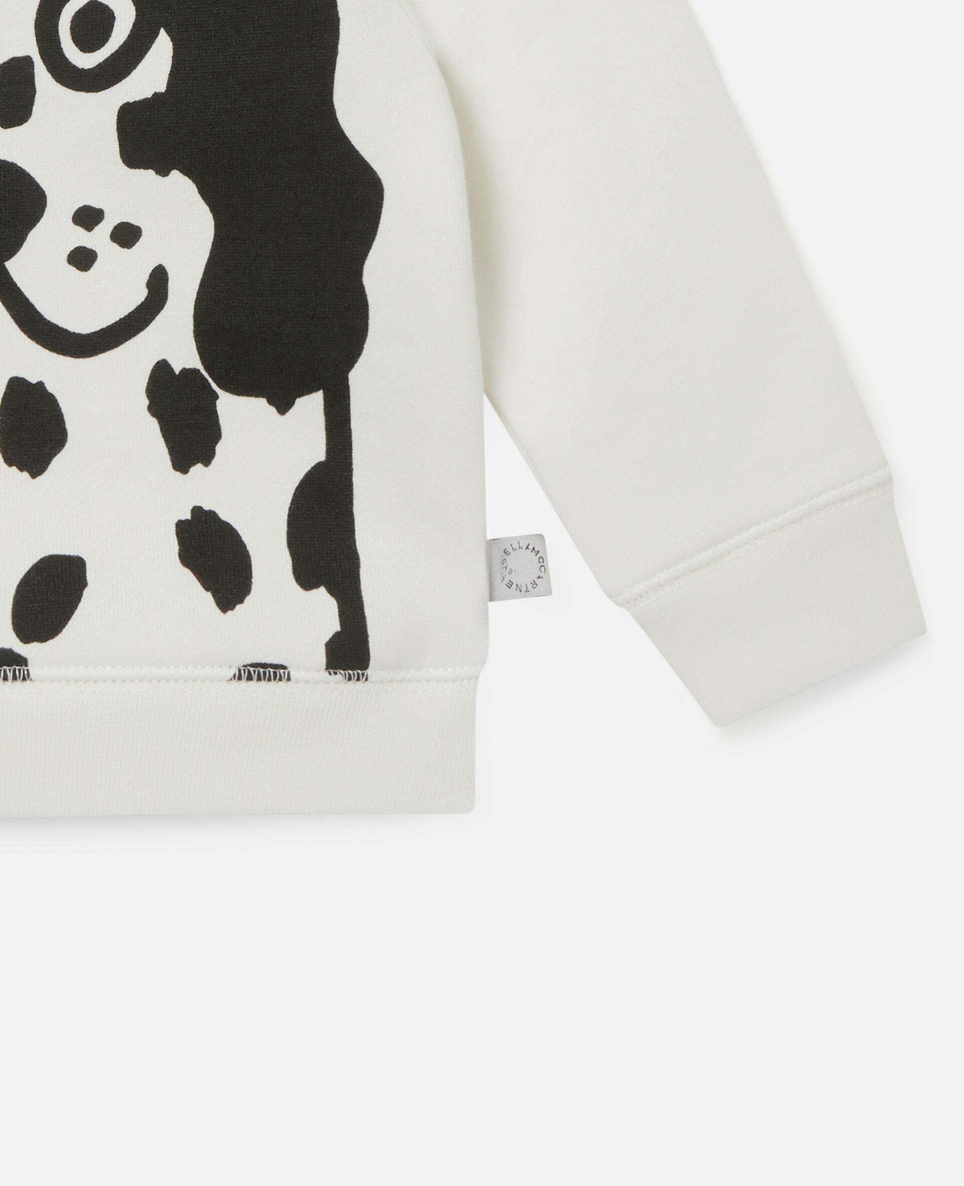 Kapuzenpullover aus Fleece mit Dalmatinerflecken-Weiß-large image number 2
