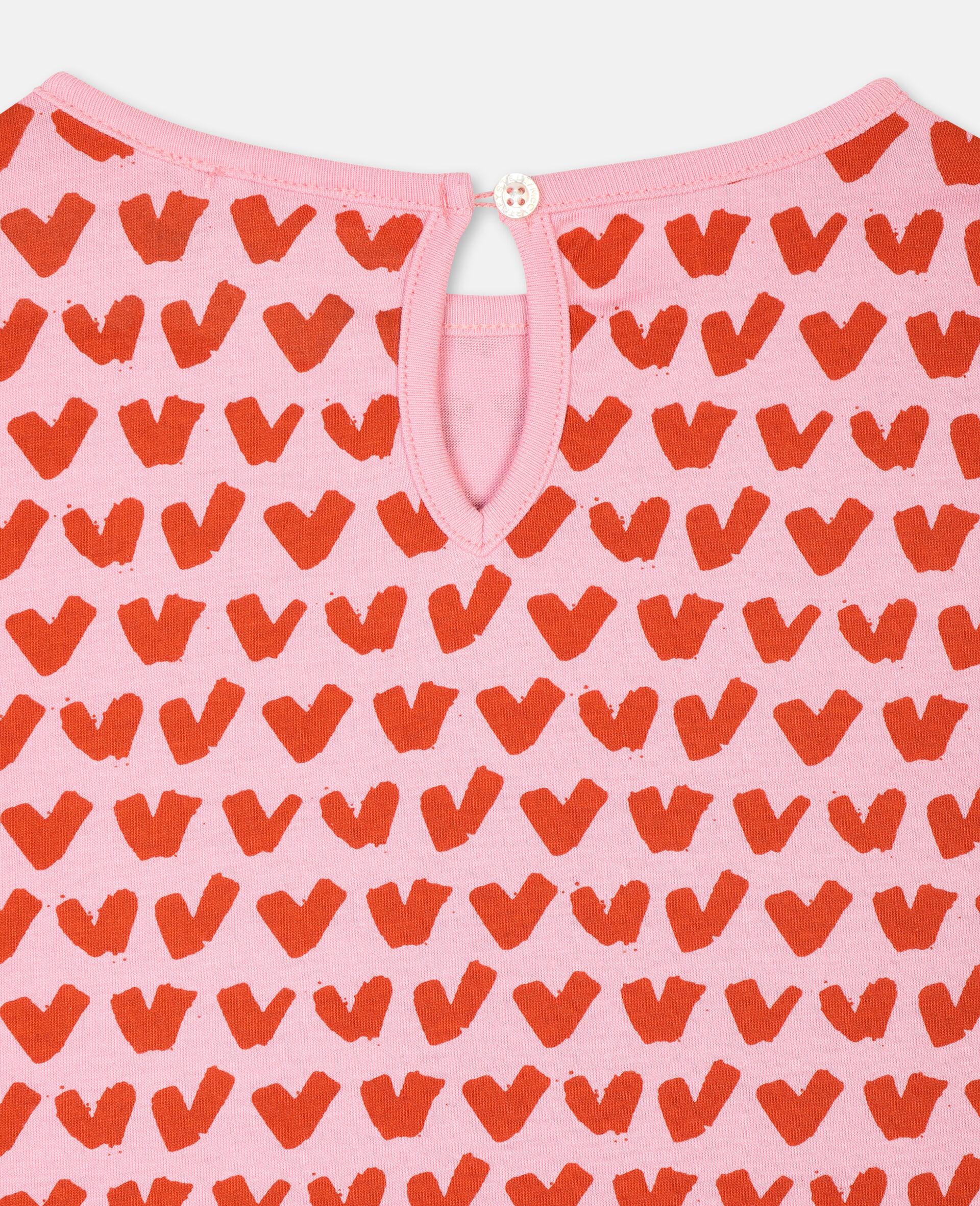 T-shirt en coton avec motif cœurs-Rose-large image number 2