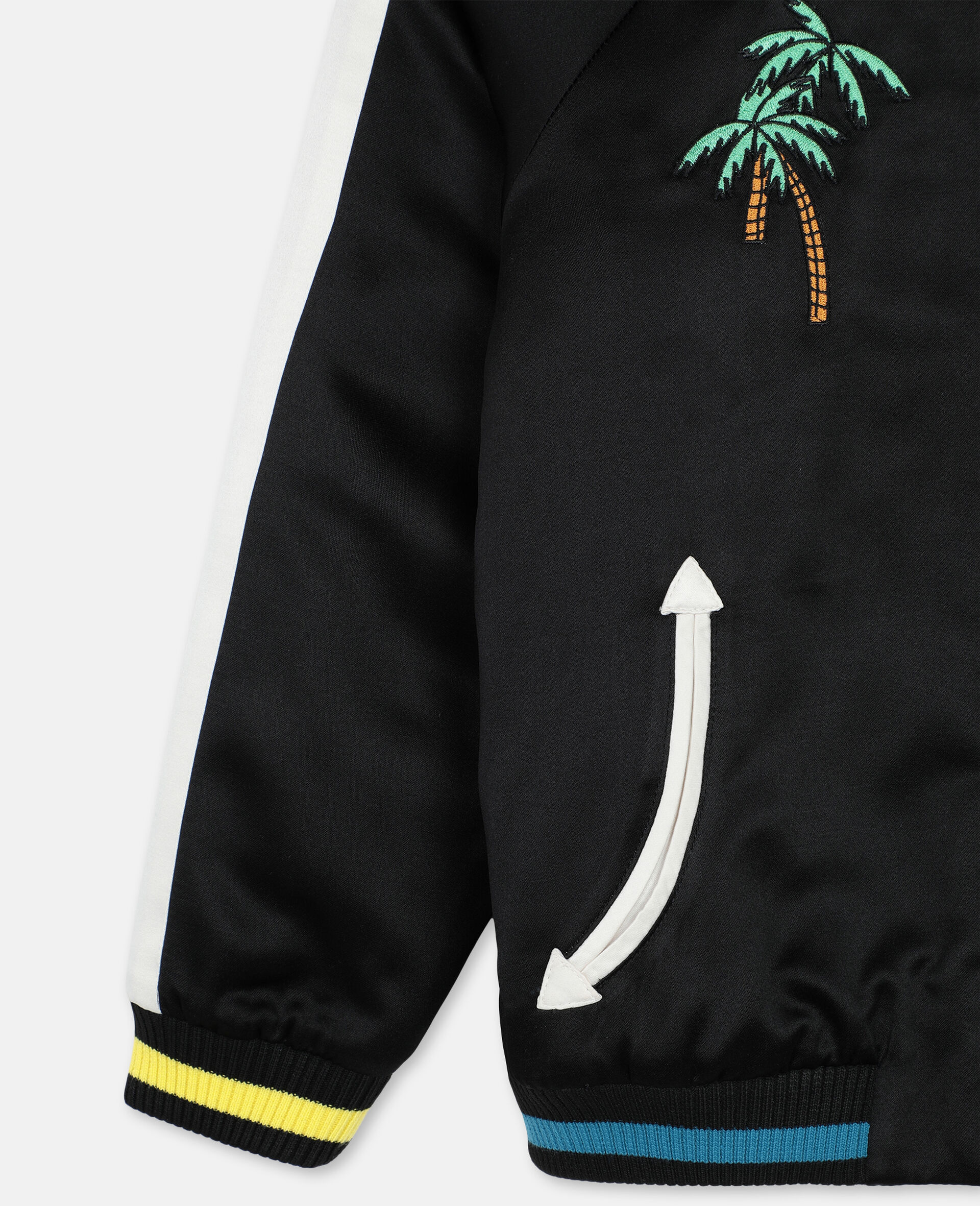 Embroided Palms Satin Bomber    -Black-large image number 1