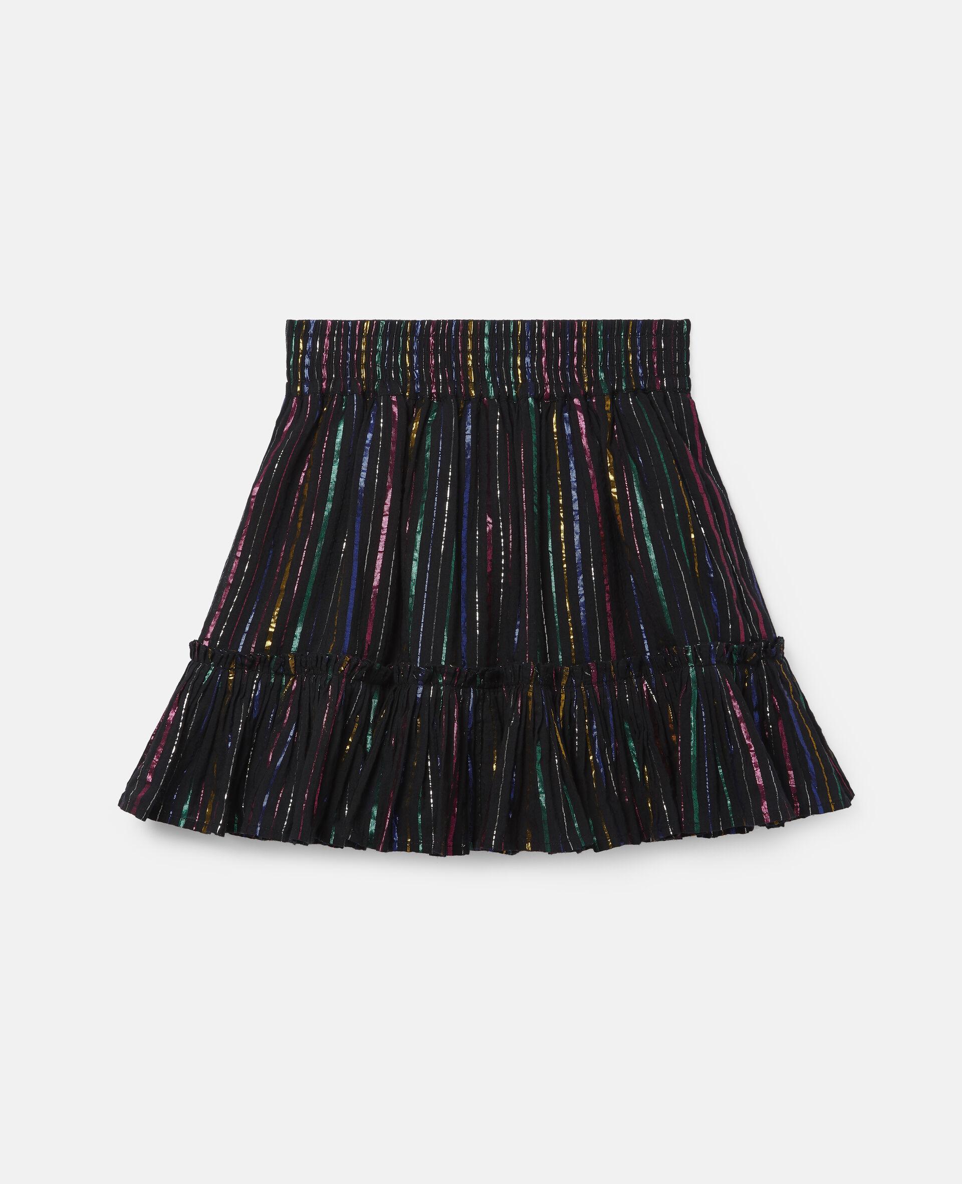 Rainbow Lurex Striped Cotton Skirt-Black-large image number 0