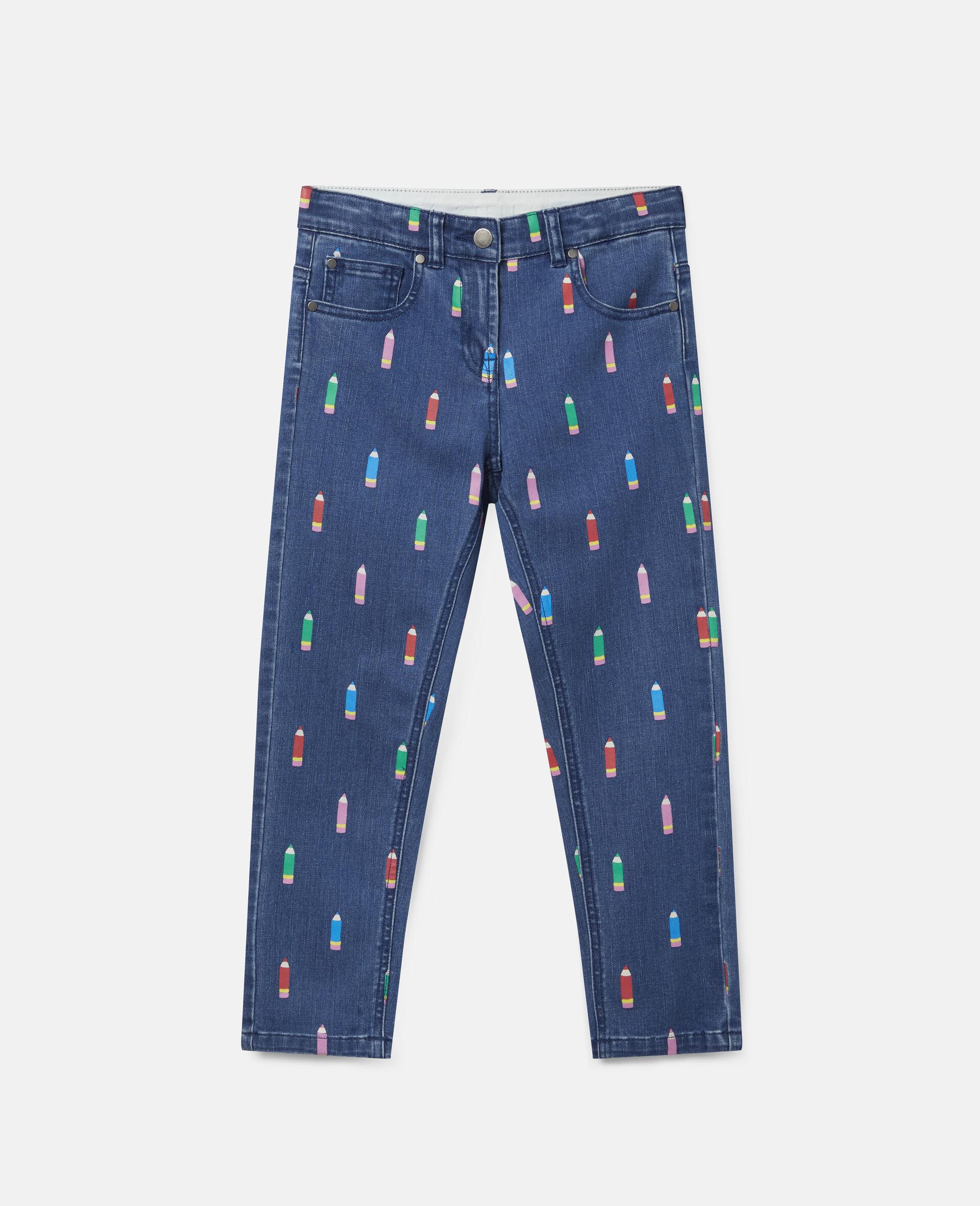 Pantalon en denim motif crayons-Bleu-large image number 0