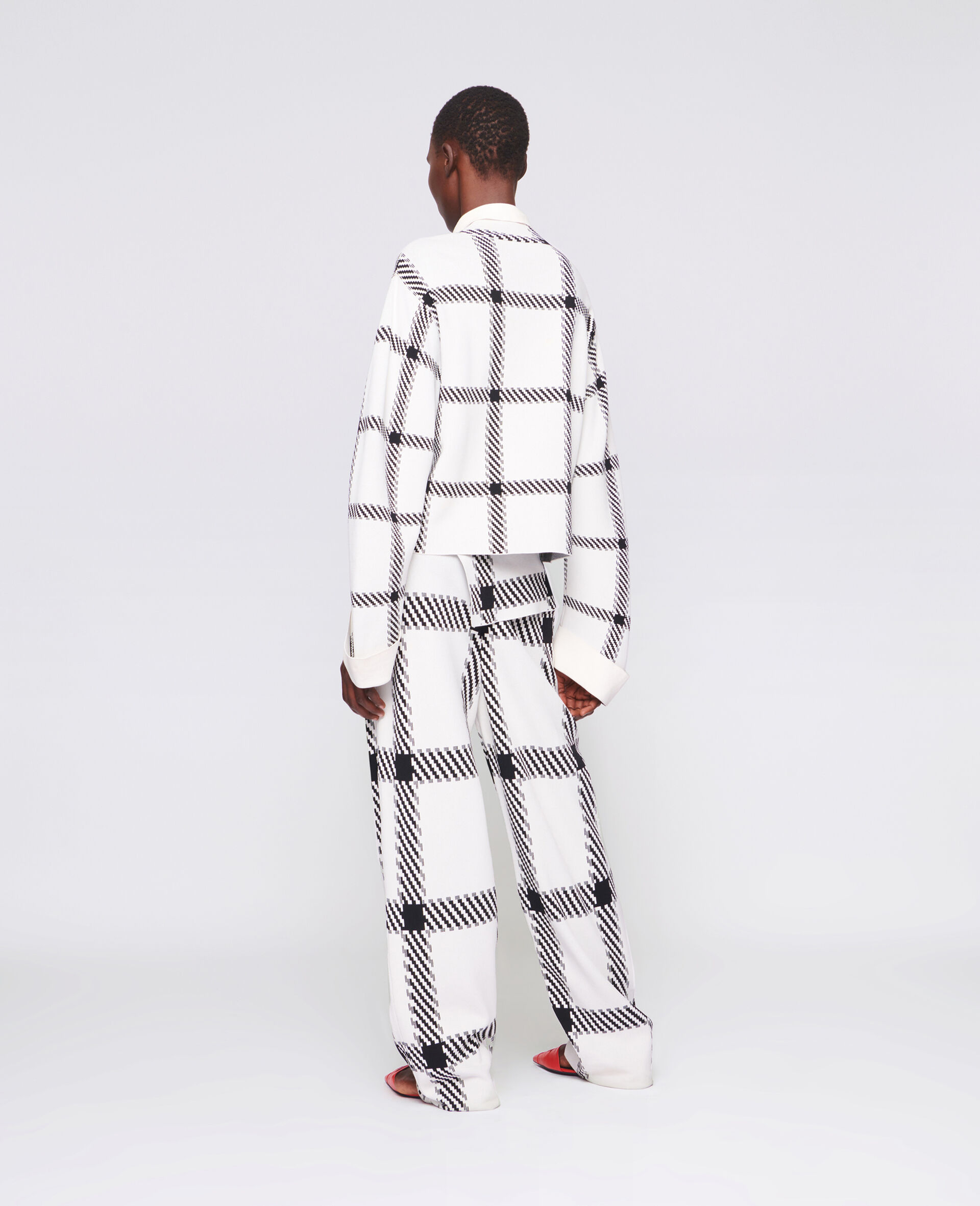 Knit Check Pants-White-large image number 2
