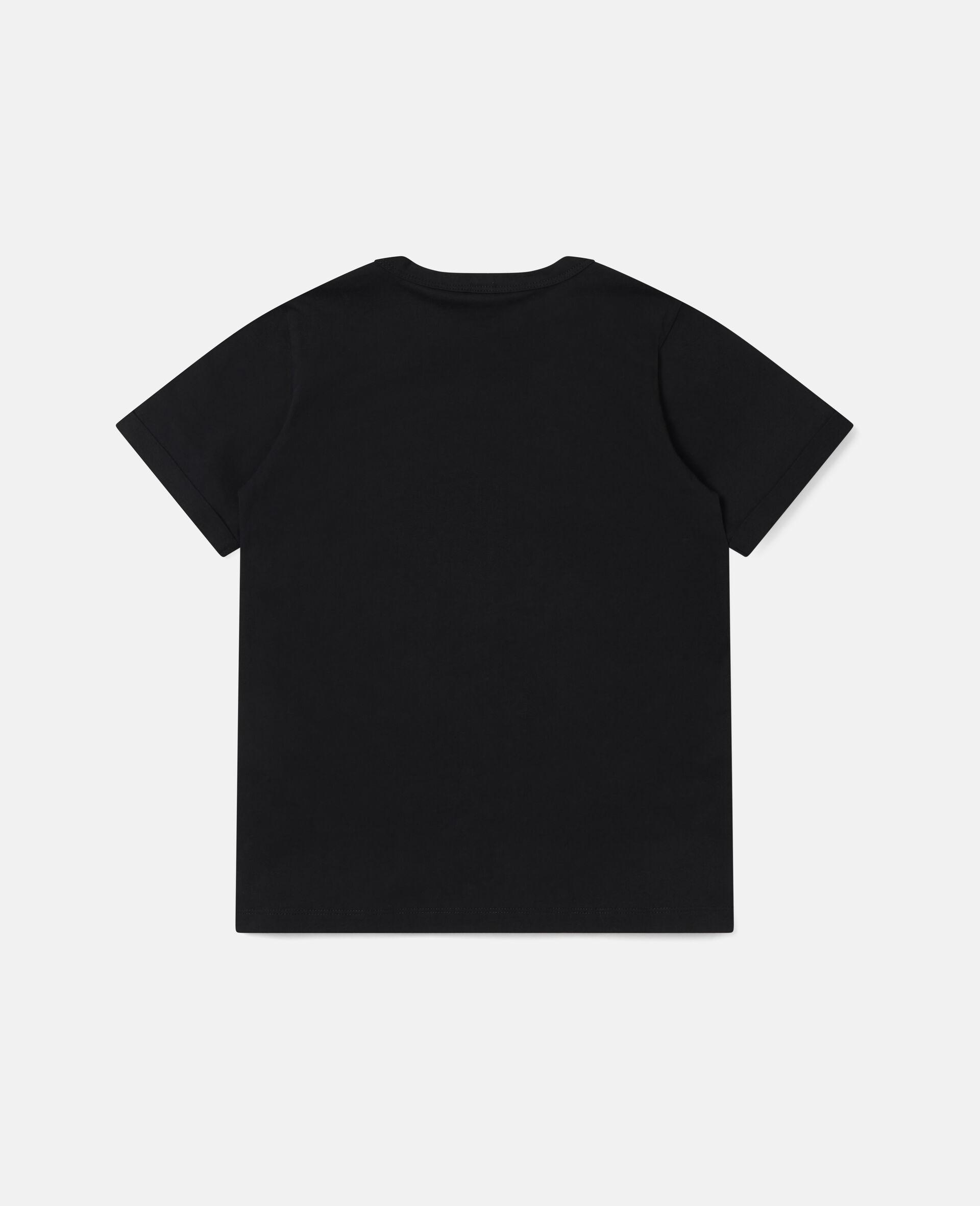 T-Shirt aus Baumwolle mit gepunkteter Blume -Schwarz-large image number 3