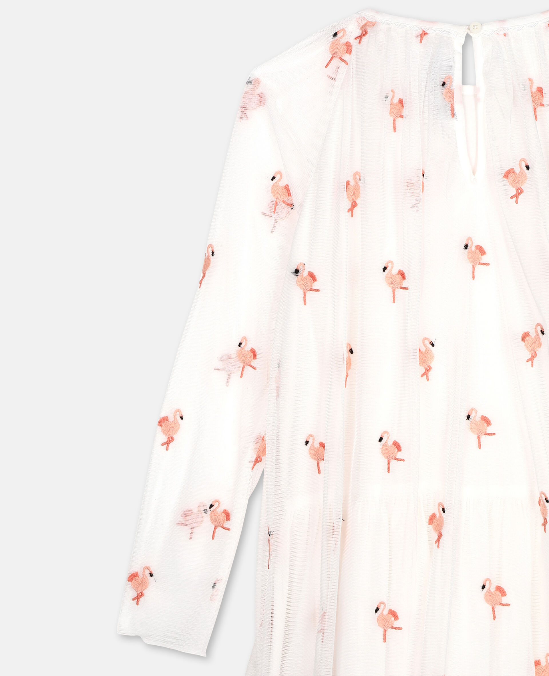 Embroidered Flamingo Tulle Dress-White-large image number 2