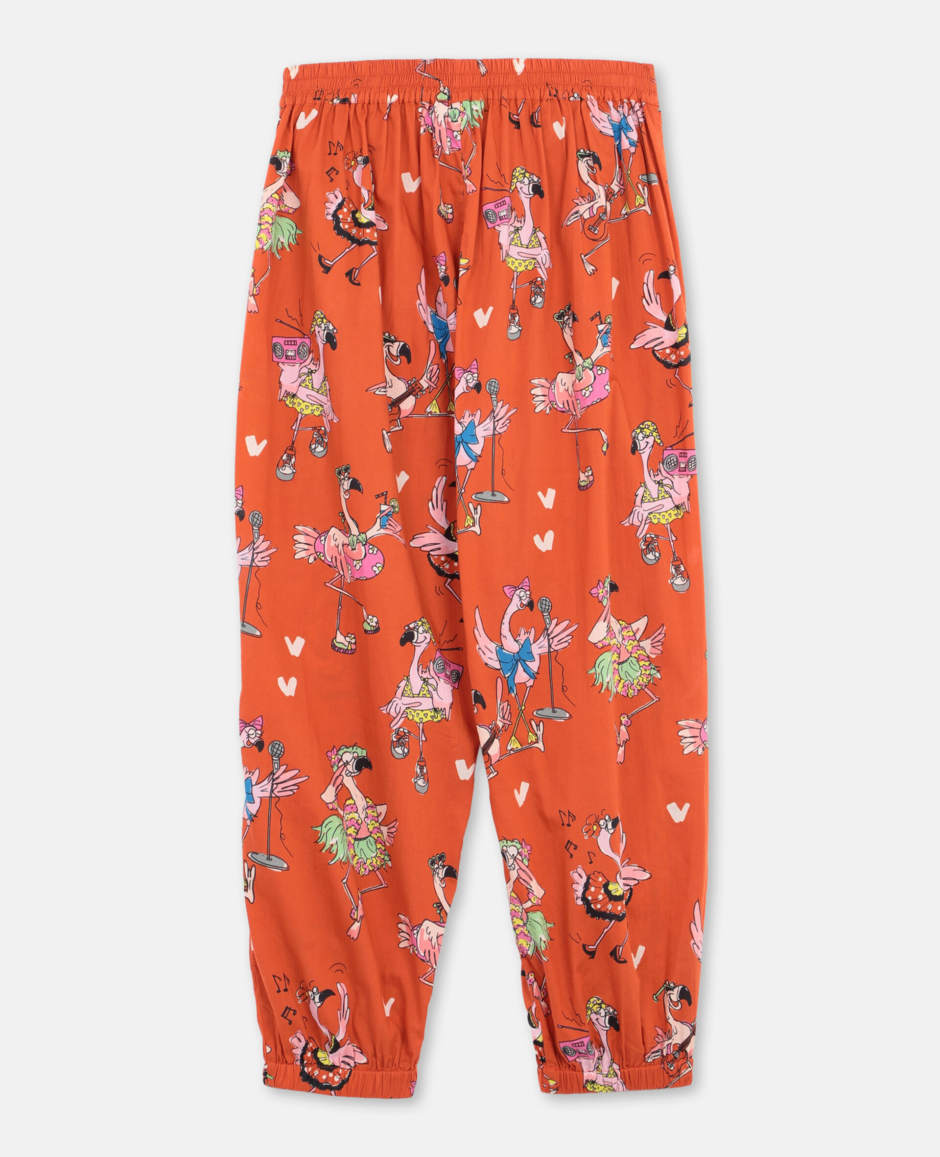 Flamingo Party Cotton Trousers-Red-large image number 3