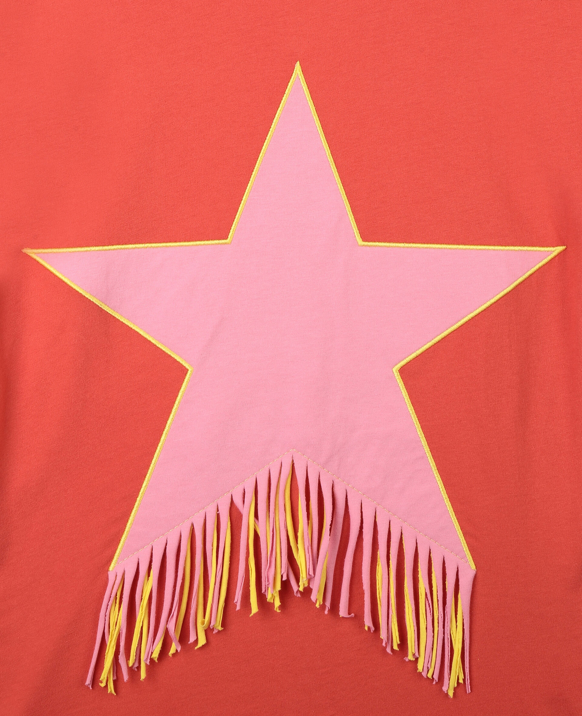 Star & Fringe Cotton Dress-Red-large image number 1