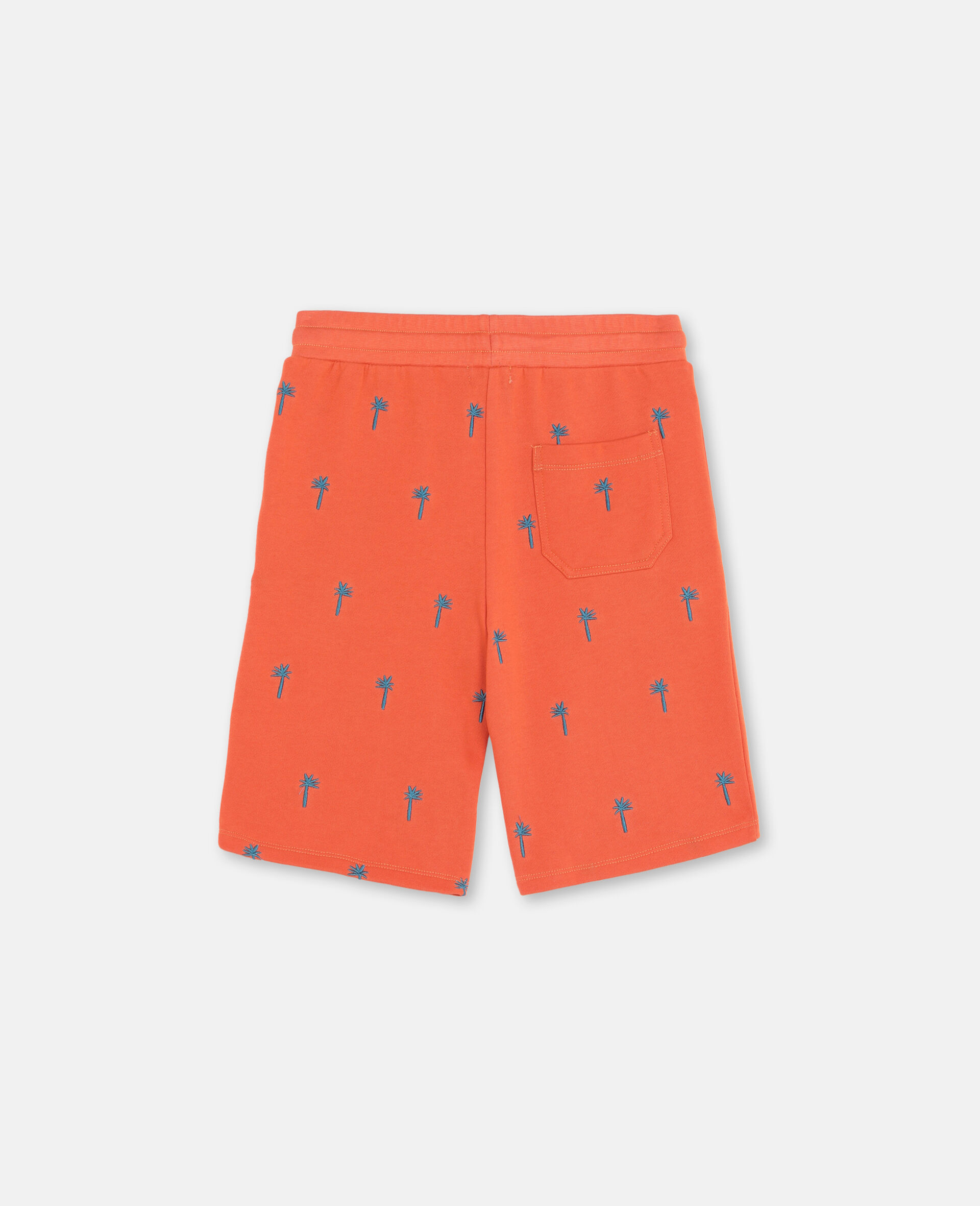 Embroidered Palm Cotton Shorts-Red-large image number 3