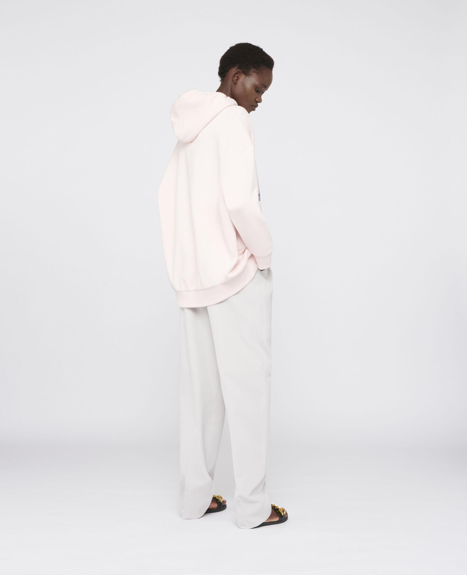 Sweat à capuche imprimé lapin-Rose-large image number 2