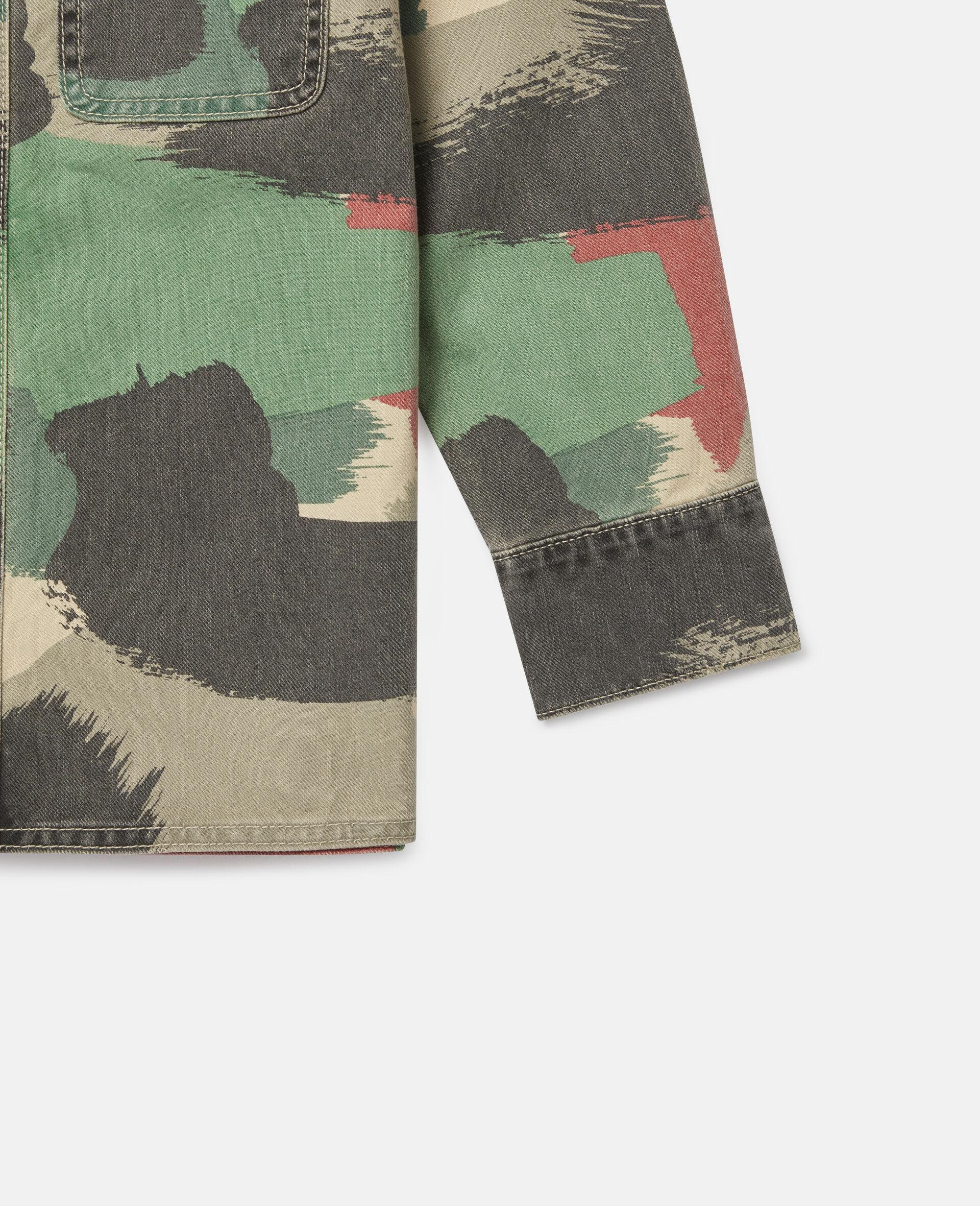 Übergroßes Denim-Hemd mit Camouflage-Print-Bunt-large image number 1