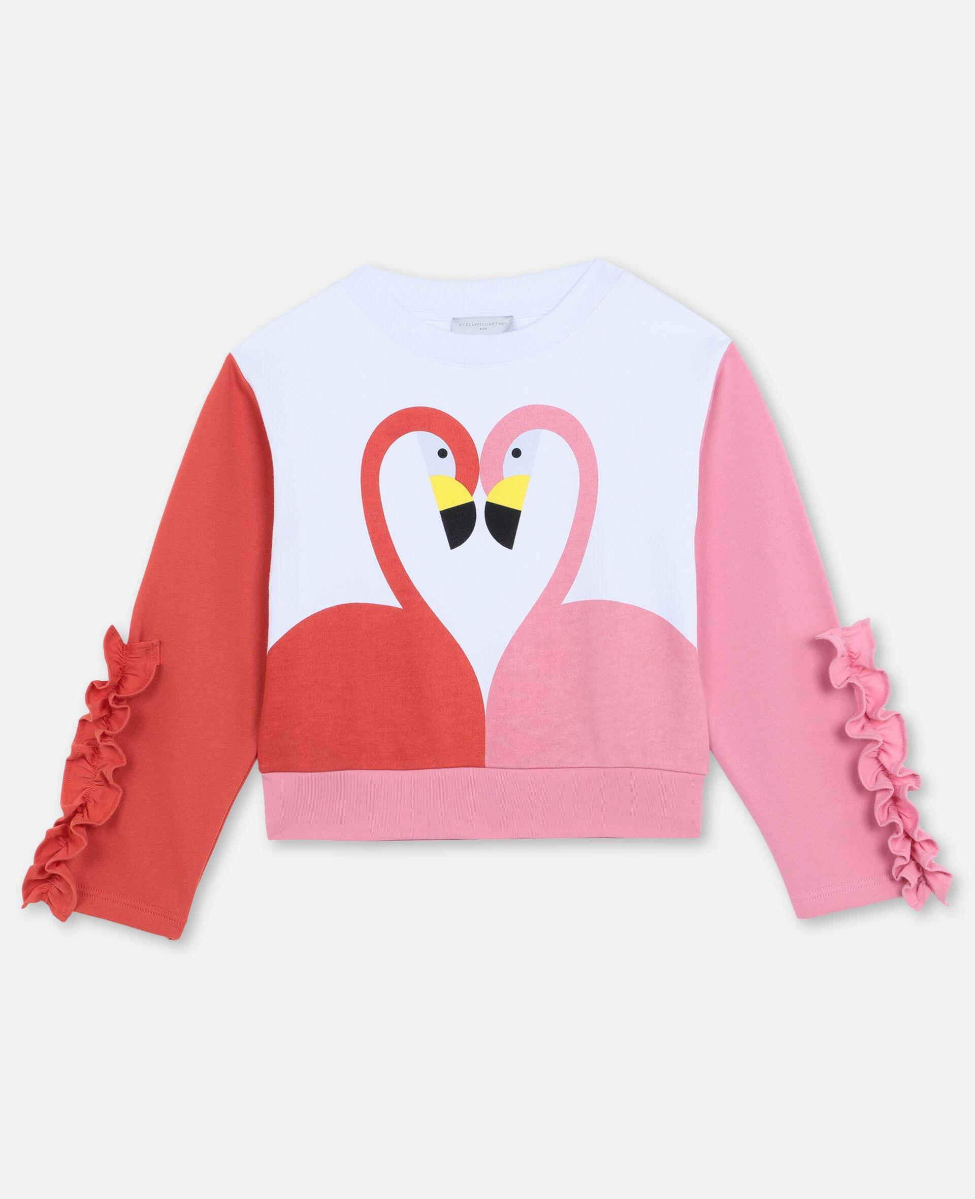 Flamingo Cotton Fleece Sweatshirt -White-large image number 0