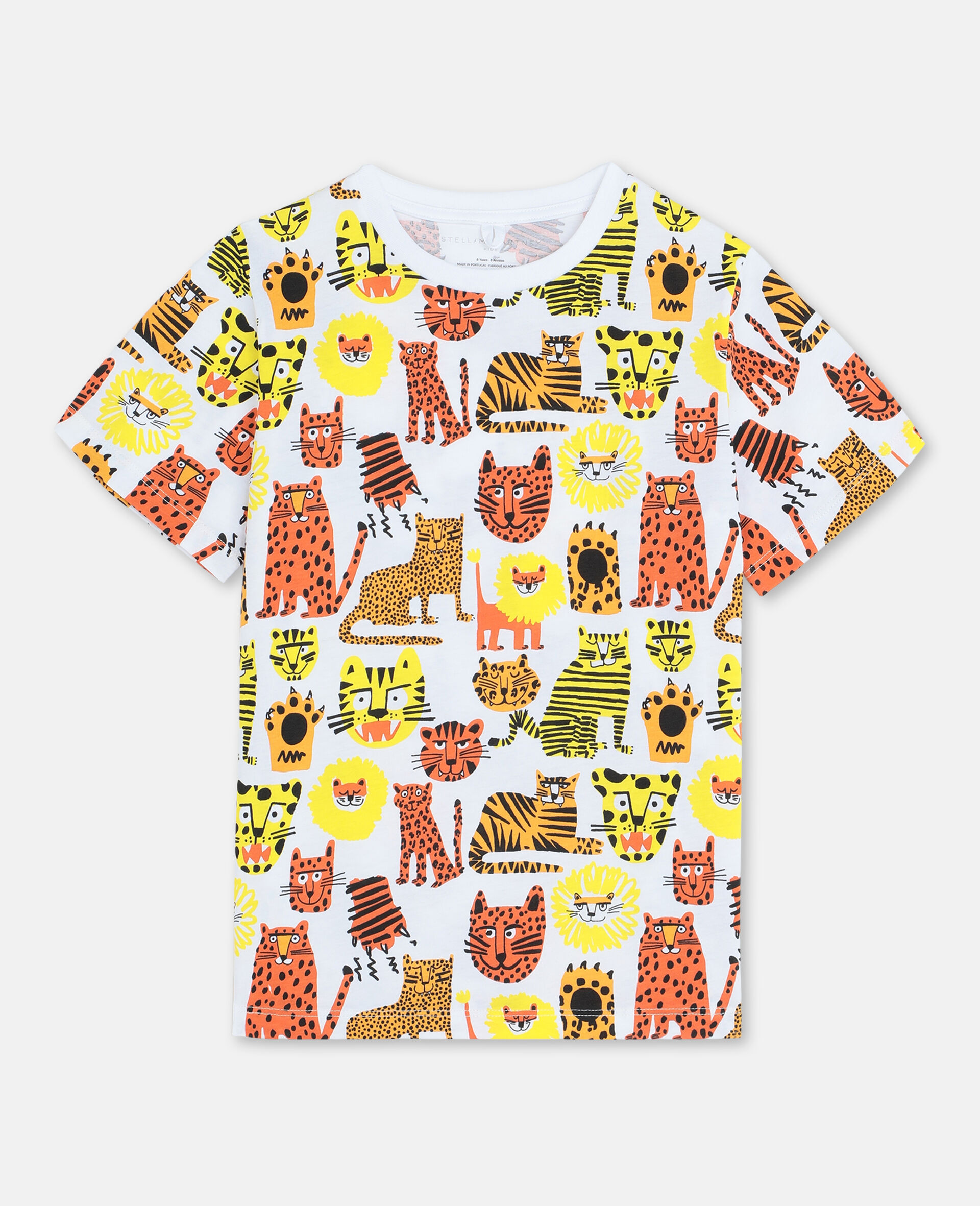 Baumwoll-T-Shirt mit Wildkatzen-Print -Gelb-large image number 0