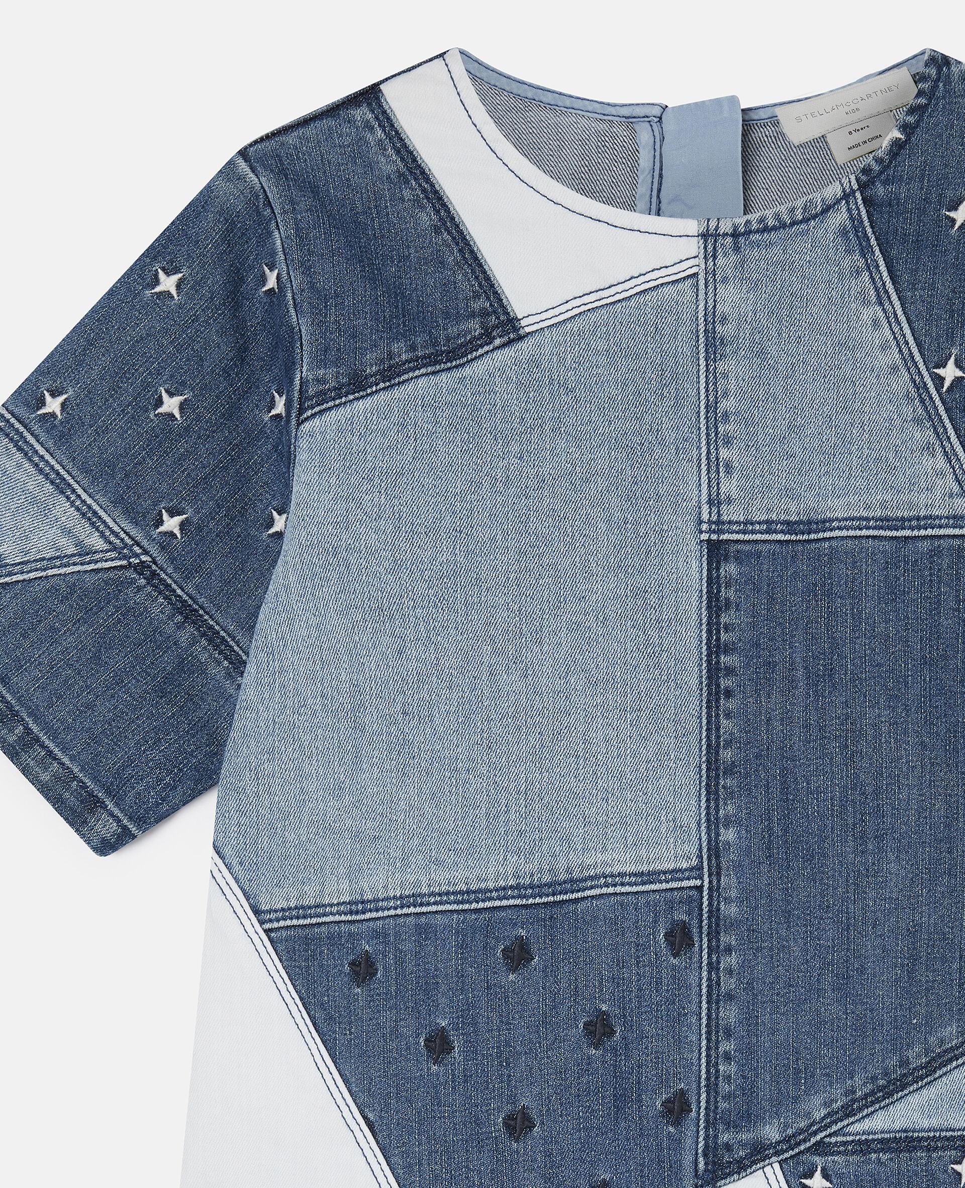 Embroidered Stars Patchwork Denim Dress-Blue-large image number 2