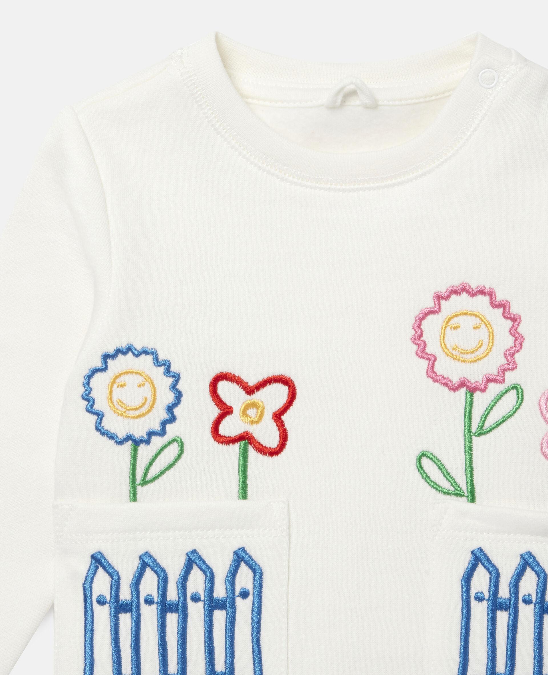 Fleece-Sweatshirt mit Gänseblümchenstickerei-Weiß-large image number 1