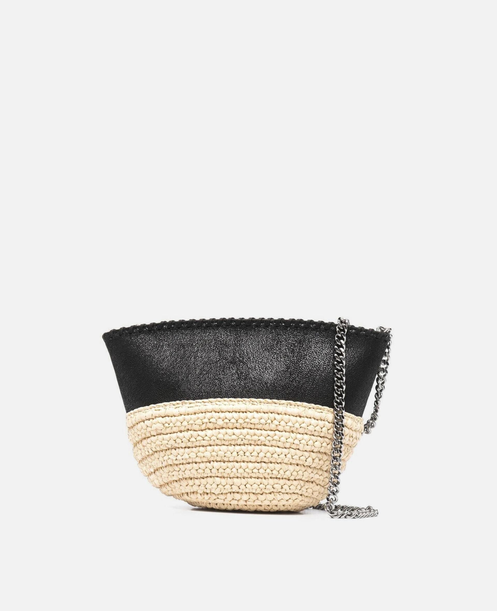 Mini sac porté épaule Falabella en raphia  -Noir-large image number 0