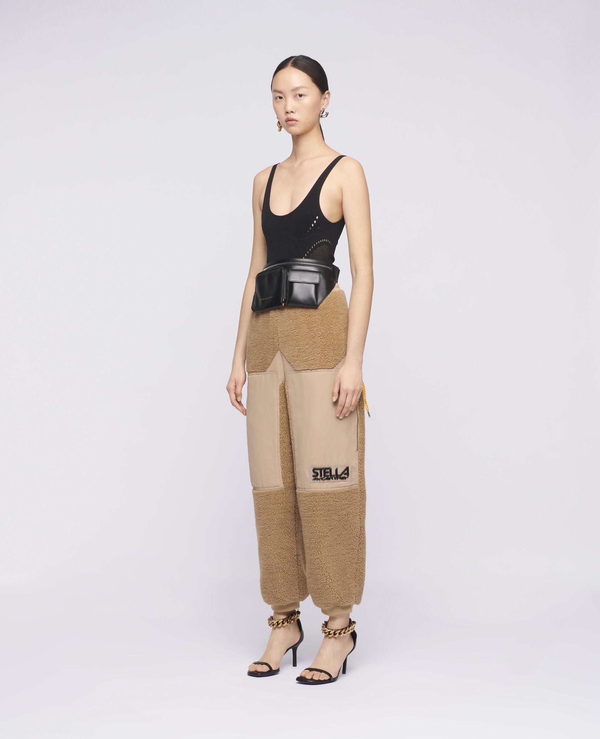 Pantaloni Kara in Teddy Mat-Marrone-large image number 1