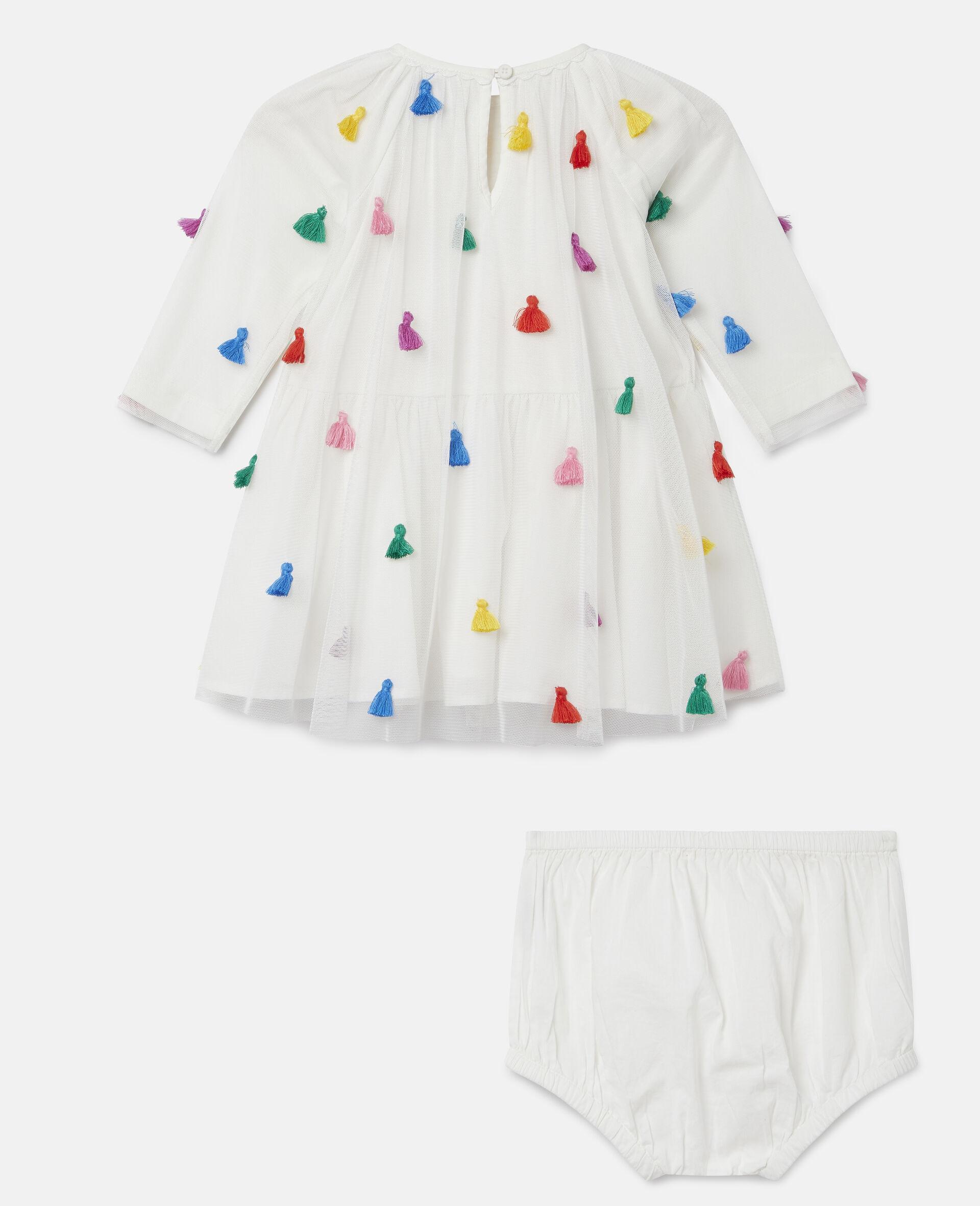 Tassels Tulle Dress-White-large image number 3