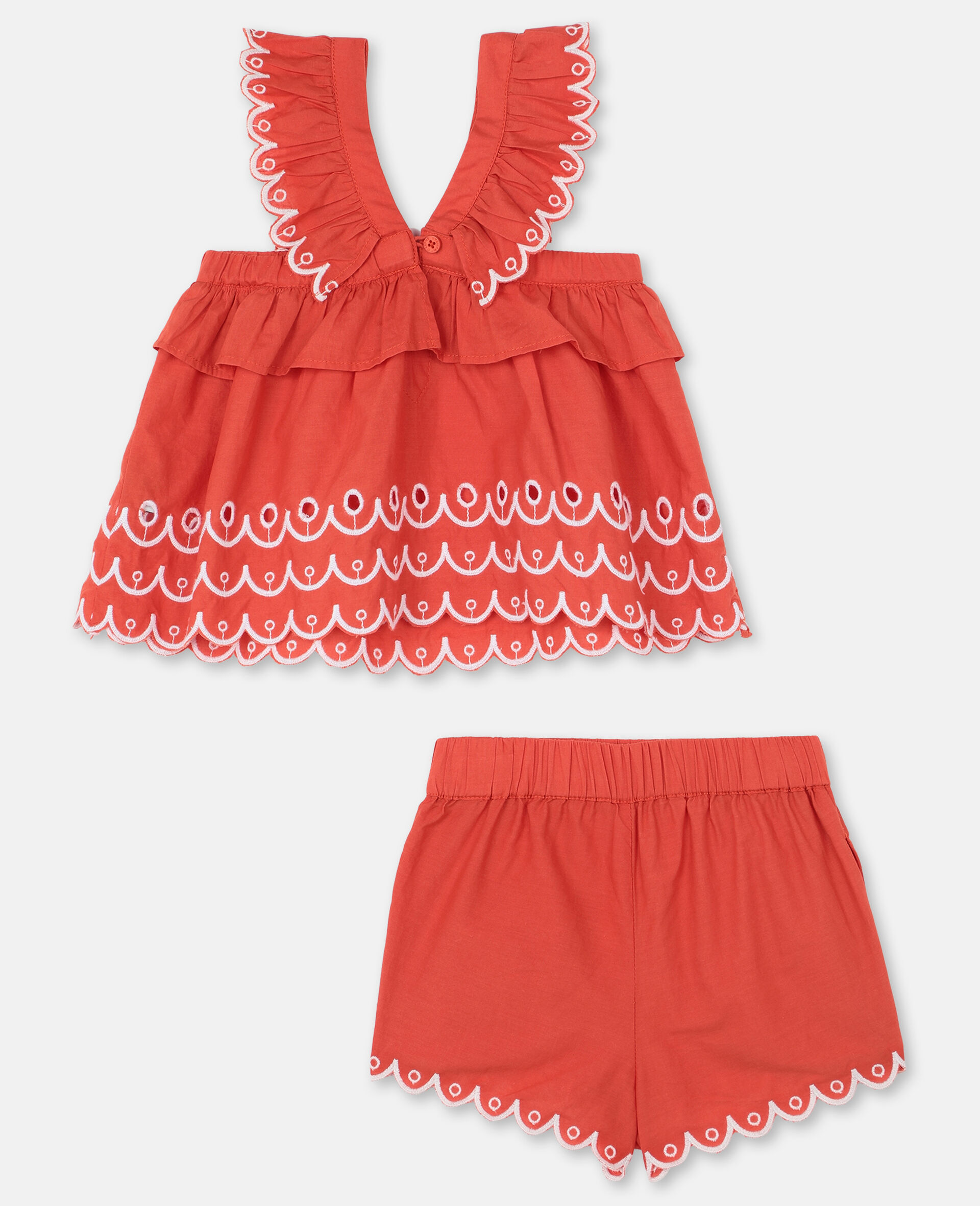 Scalloped Cotton Set -Red-large image number 3