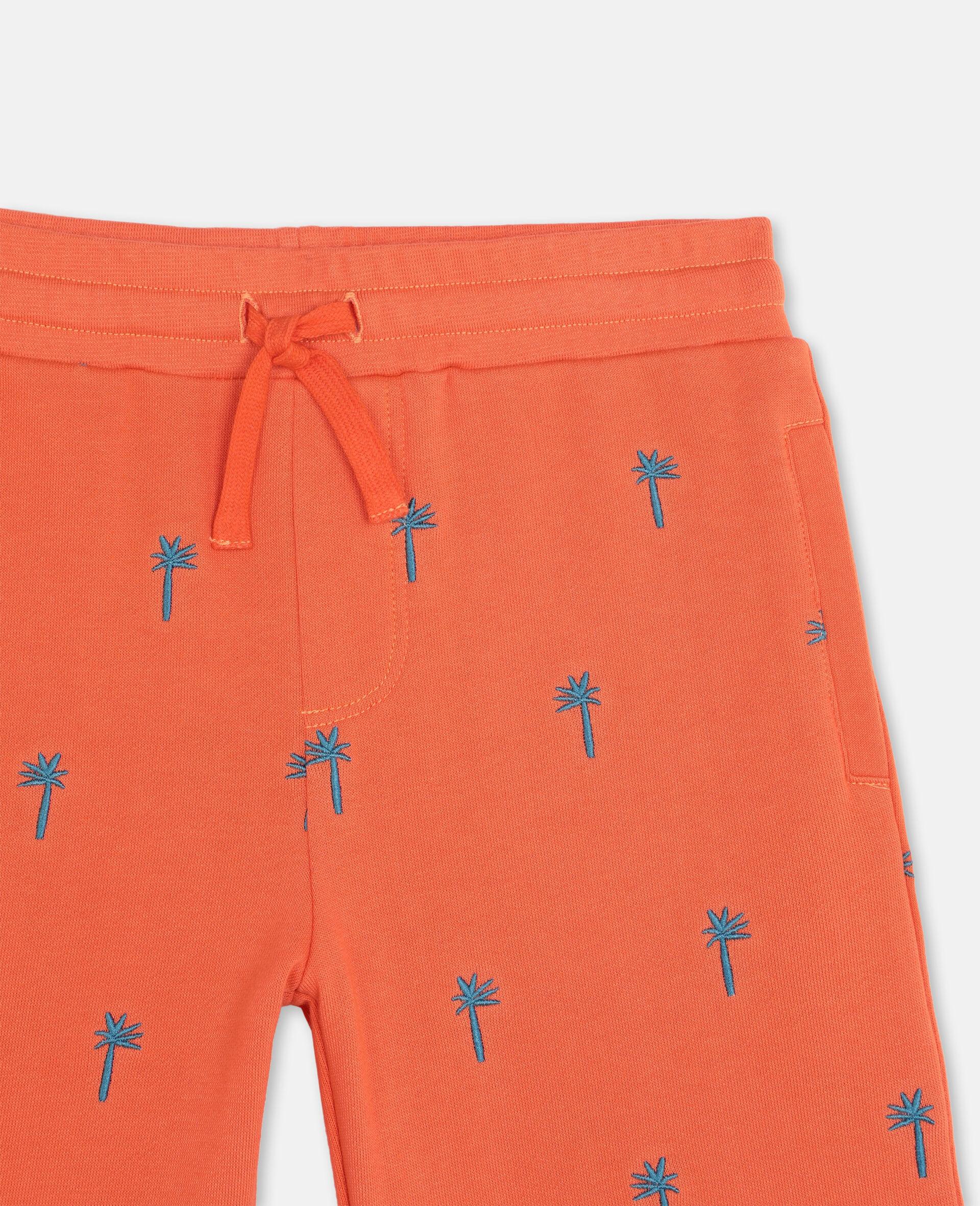 Short en coton à motifs palmiers brodés-Rouge-large image number 1