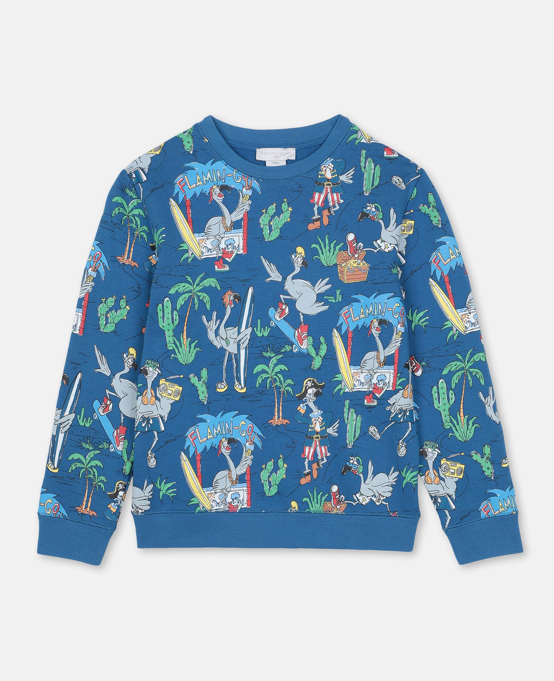 Baumwollsweatshirt mit Flamingo-Land-Print -Blau-large image number 0