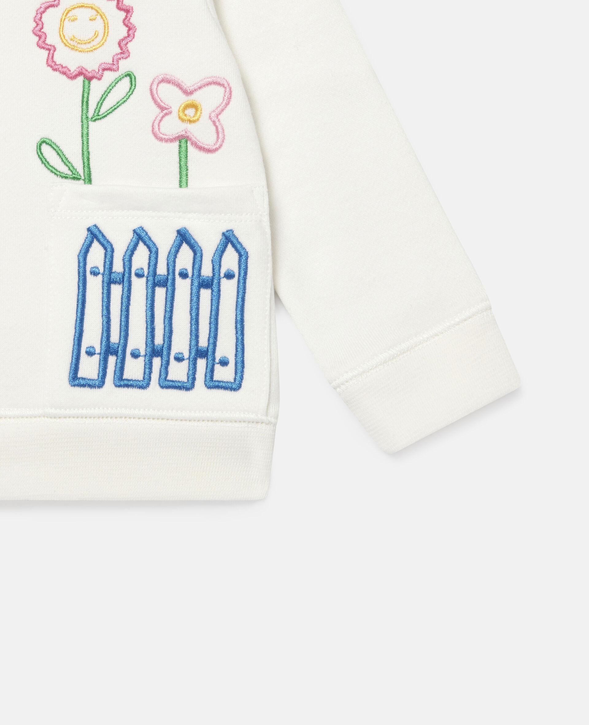 Sweat-shirt en polaire à broderie jardin-Blanc-large image number 2