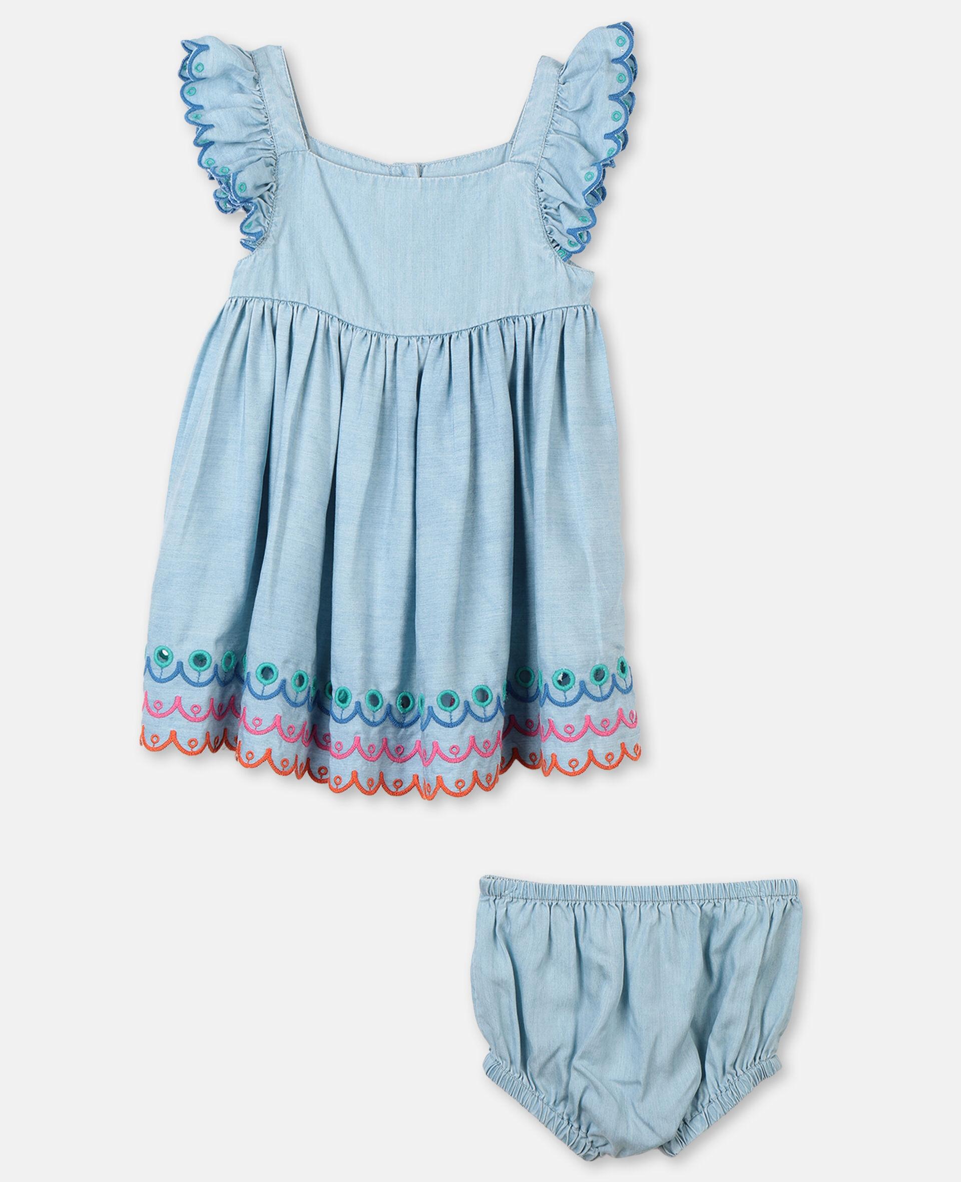 Scalloped Denim Dress-Blue-large image number 0