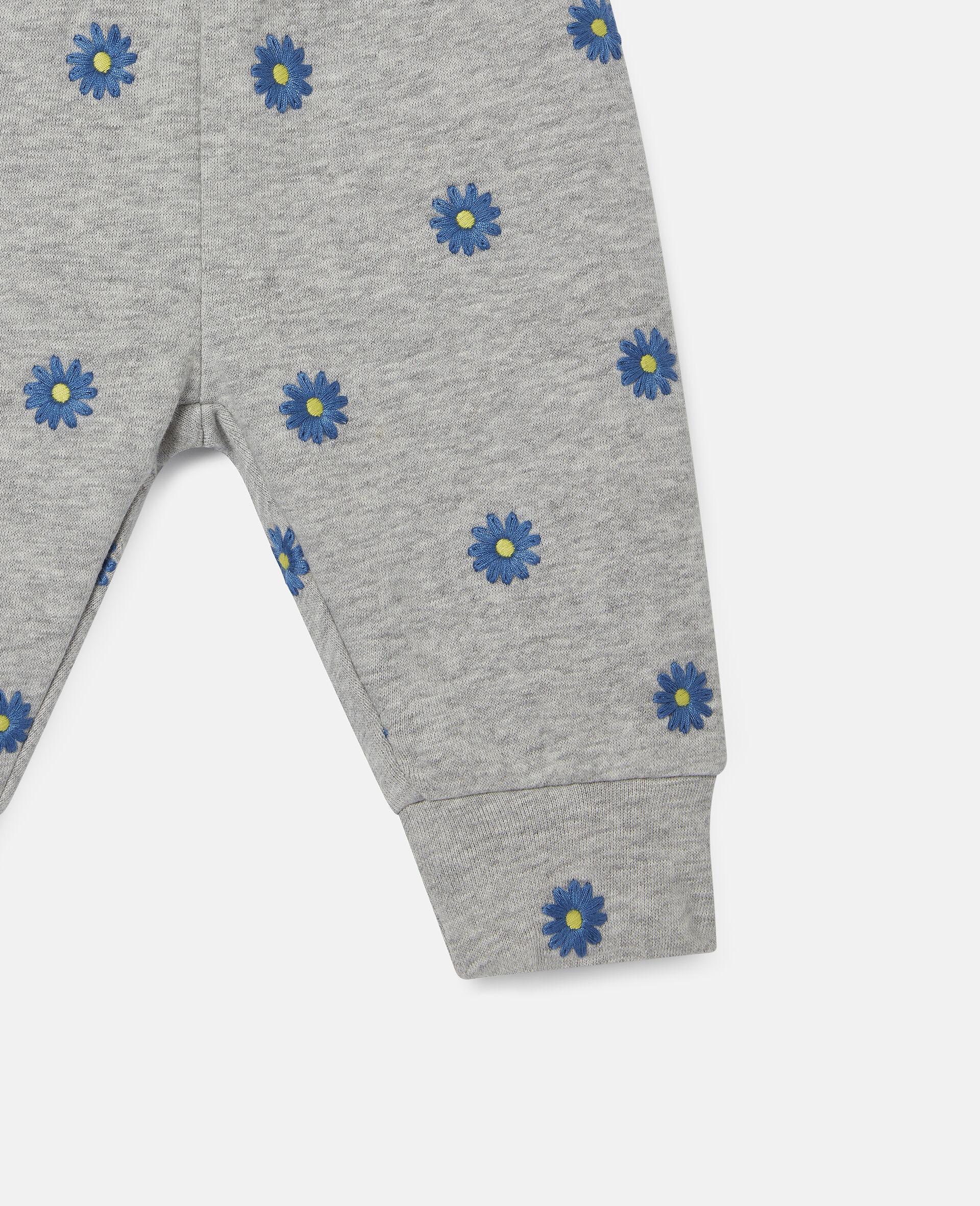 Pantaloni in Felpa di Cotone con Margherite Ricamate-Grigio-large image number 2